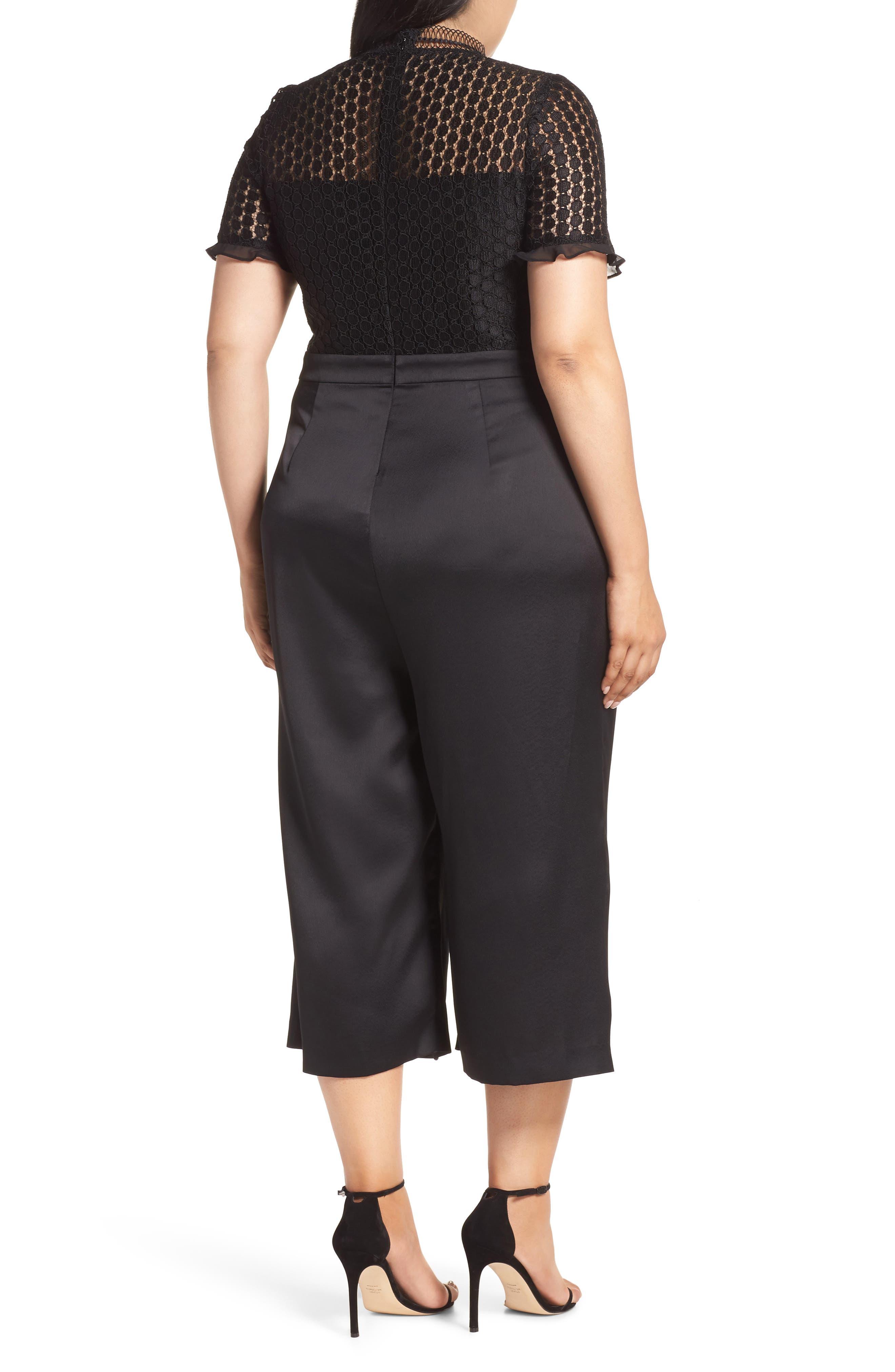 Lace Crop Jumpsuit,                             Alternate thumbnail 2, color,                             BLACK