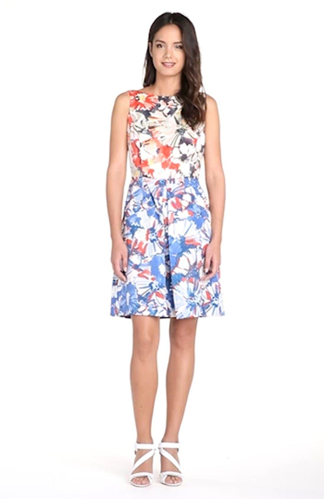 Floral Print Fit & Flare Dress,                             Alternate thumbnail 3, color,                             405