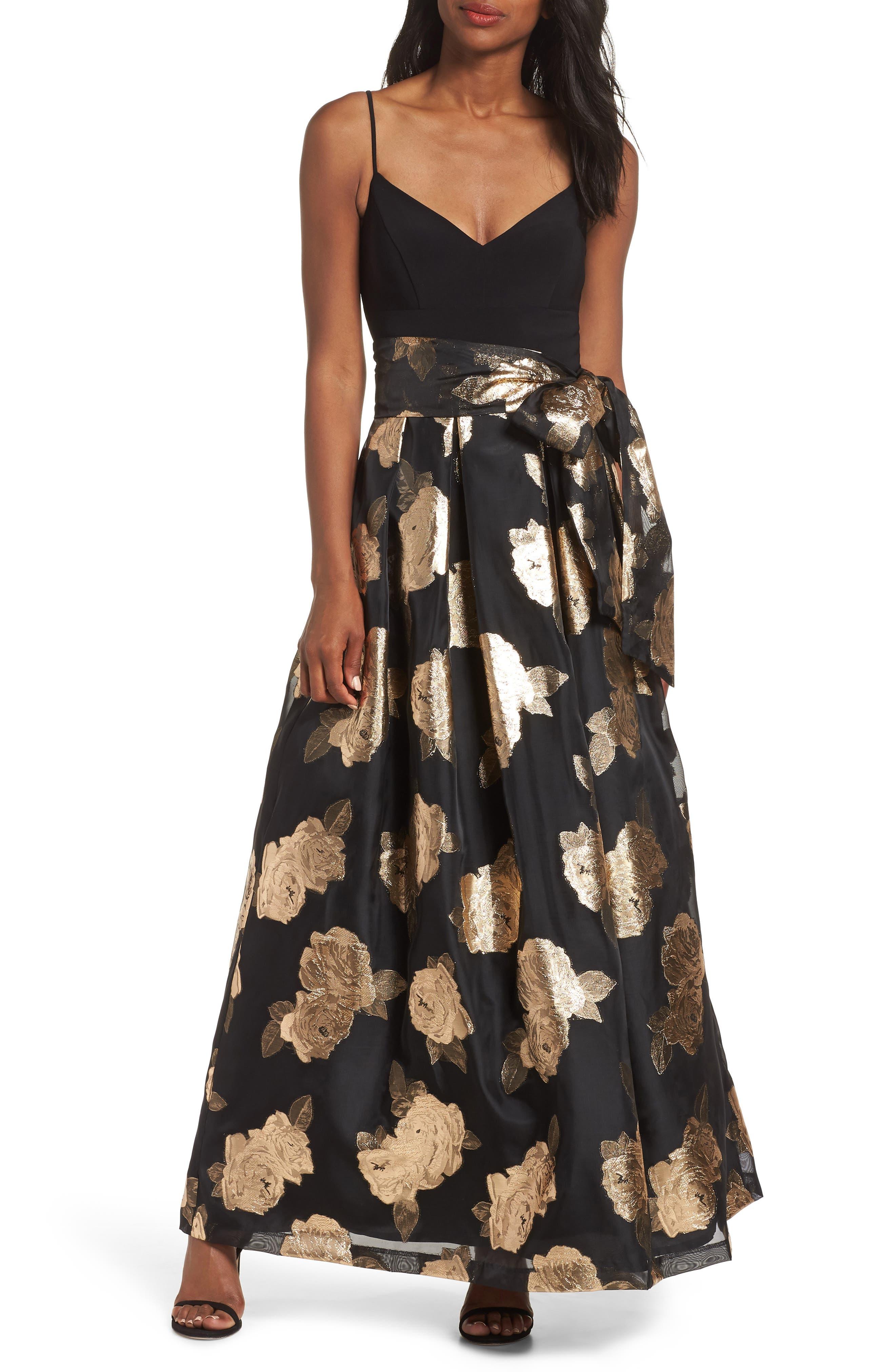 Eliza J Jacquard Floral Gown, Black