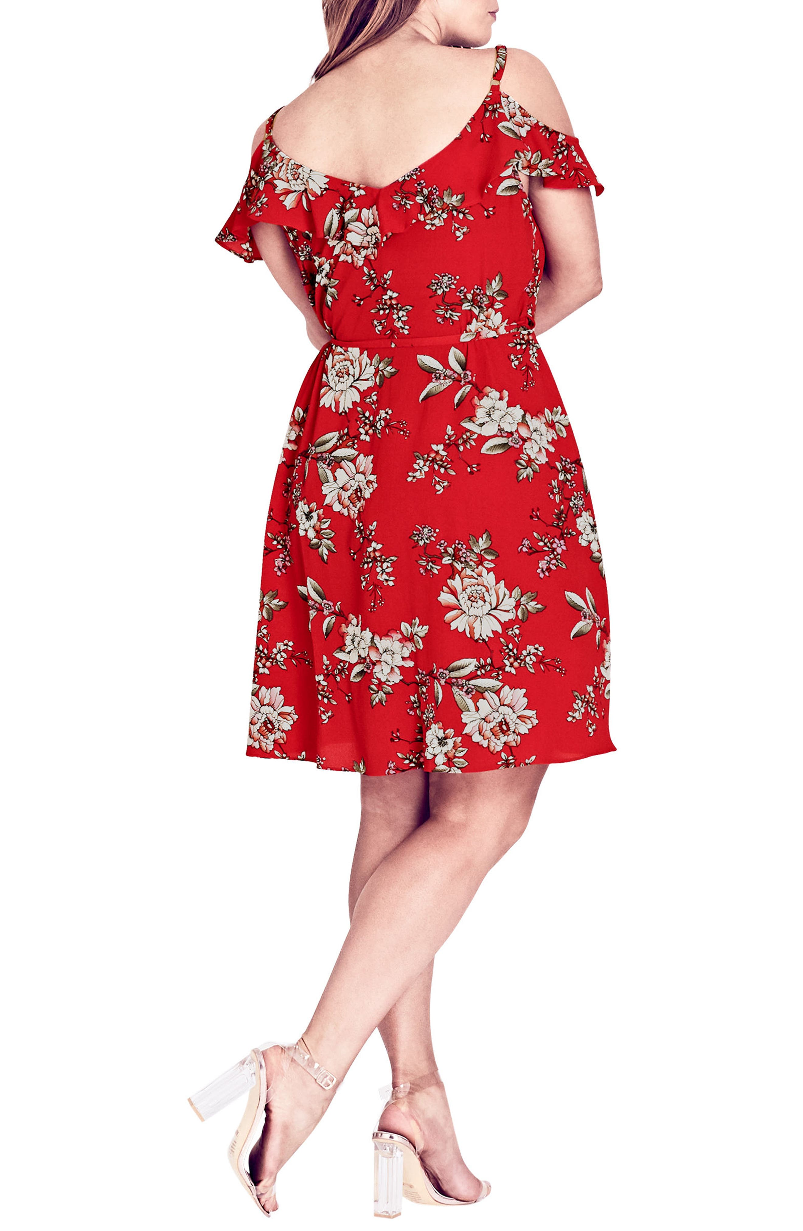 Wild Floral Cold Shoulder Dress,                             Alternate thumbnail 2, color,                             WILD FLORAL
