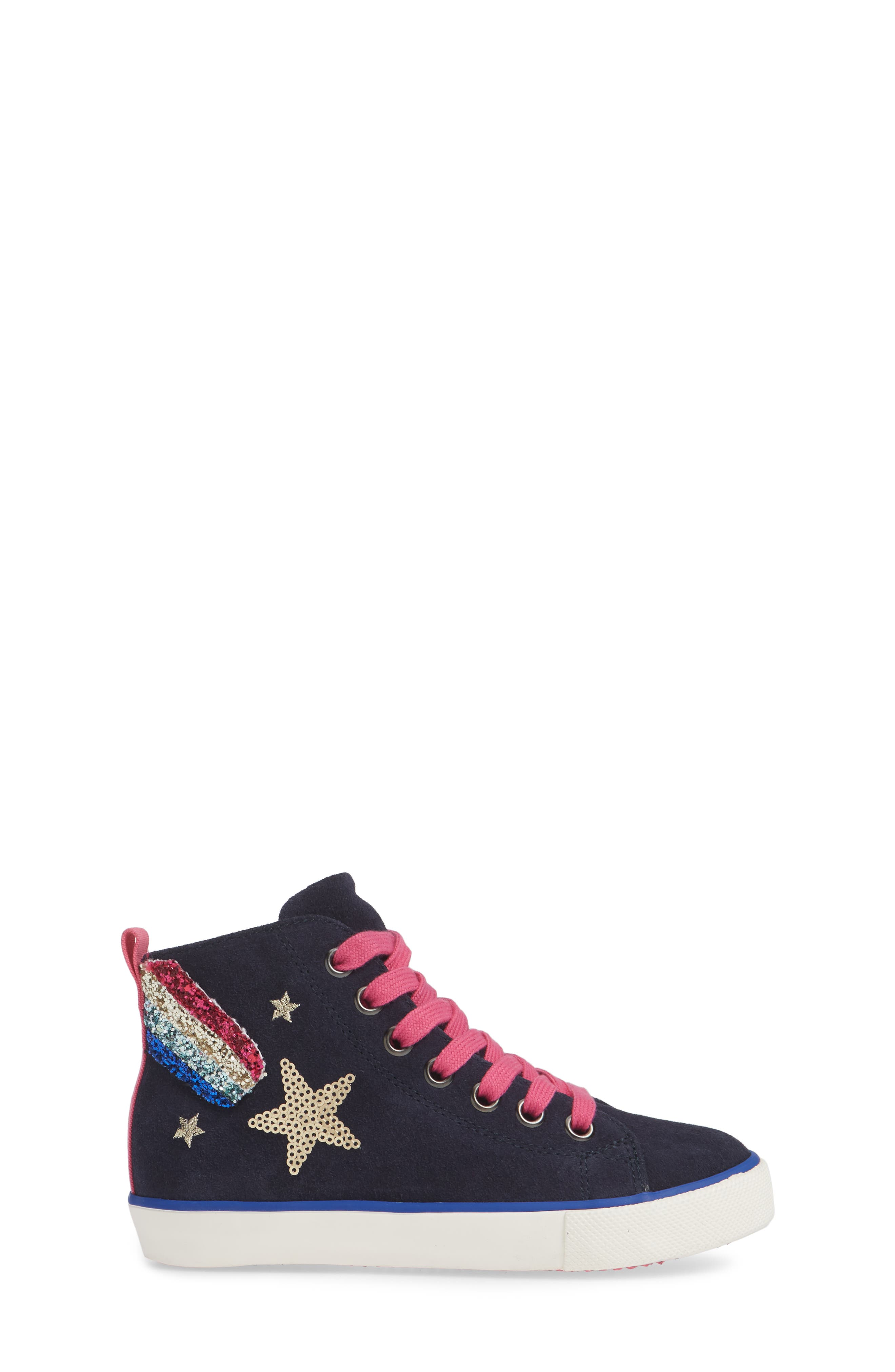 Mini Boden Appliqué High Top Sneaker,                             Alternate thumbnail 3, color,                             SCHOOL NAVY