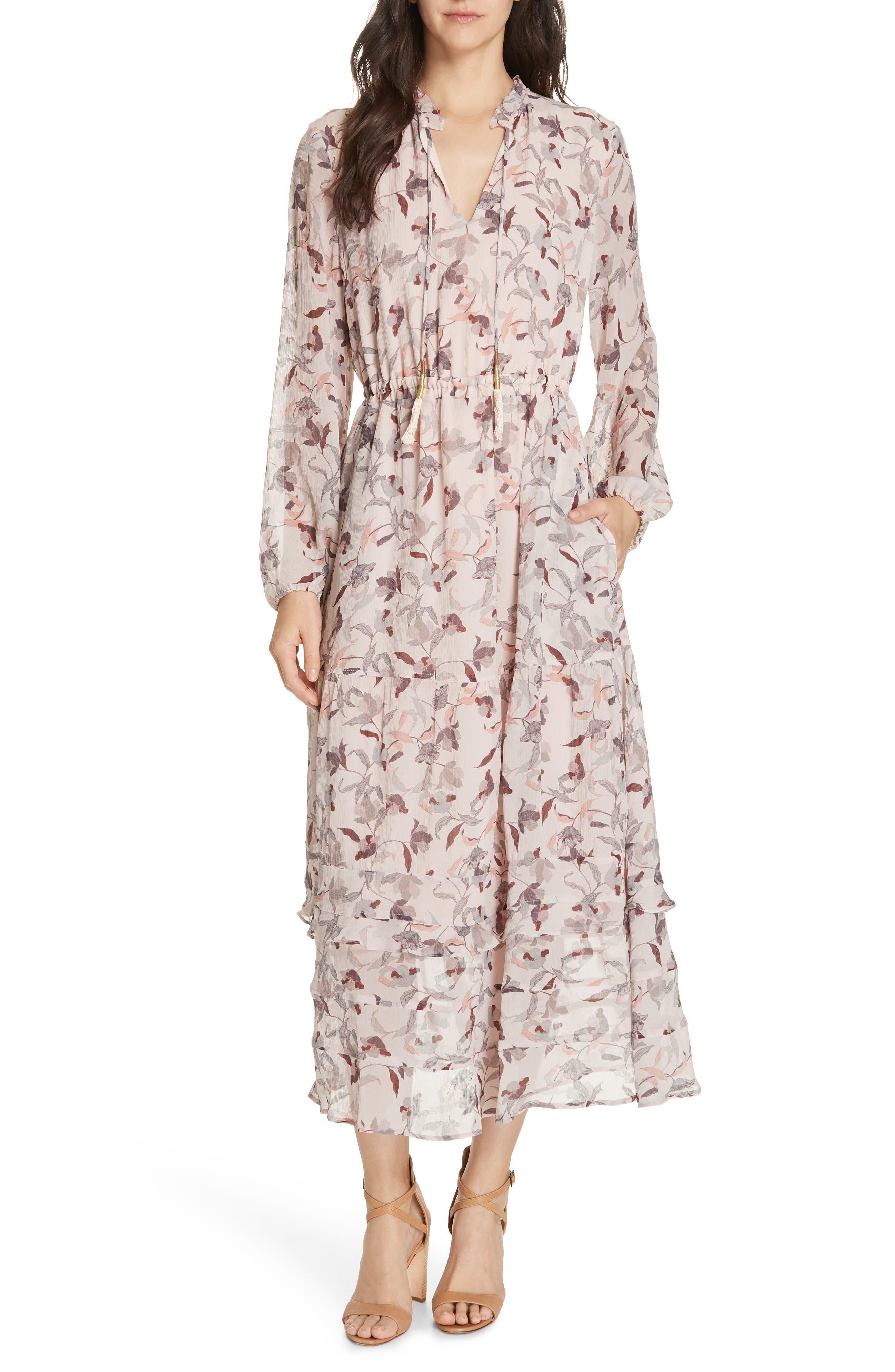 Frances Floral Silk Maxi Dress, Main, color, FEATHER POPPY