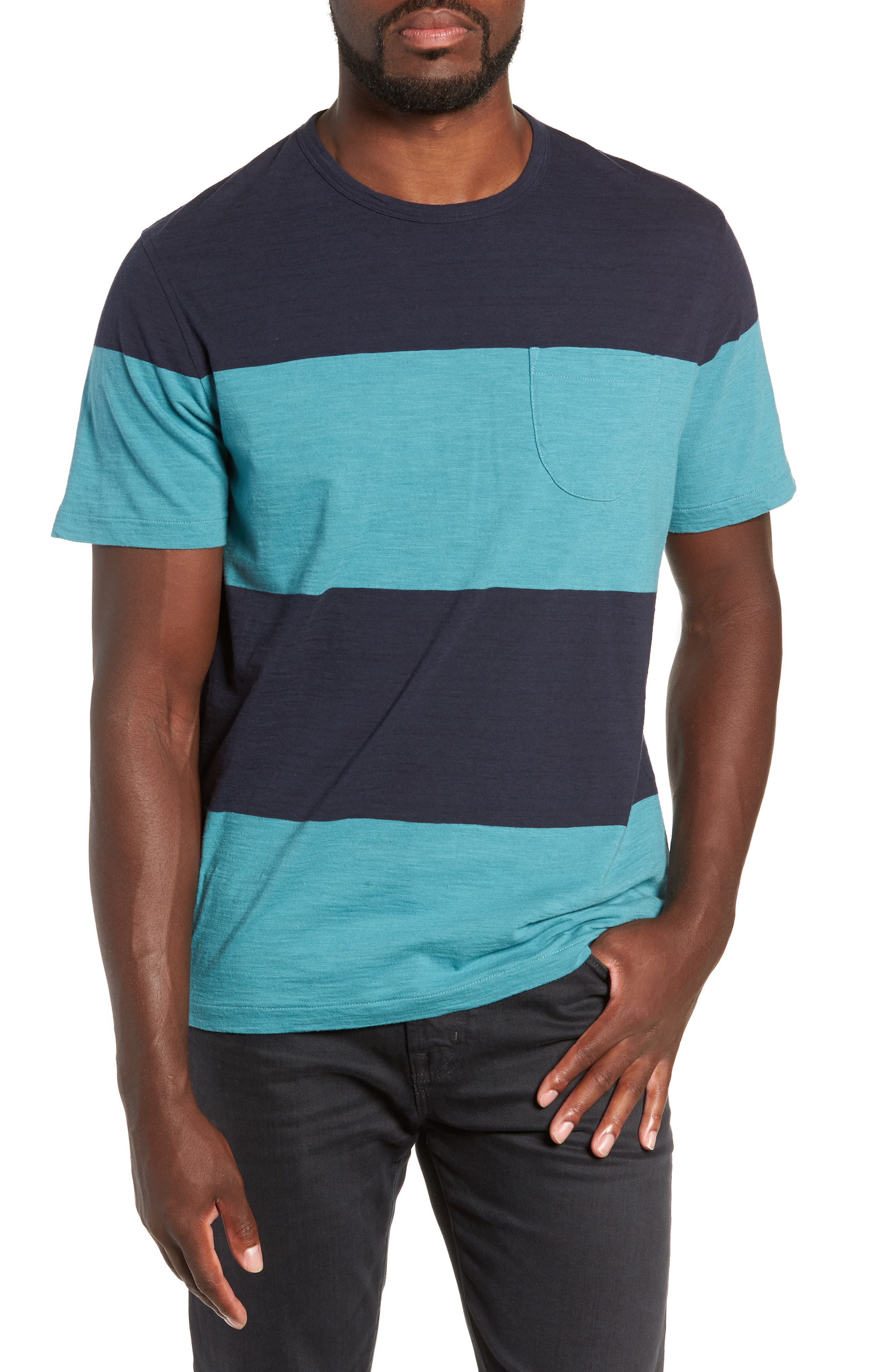 Colorblock Slubbed Pocket T-Shirt,                             Main thumbnail 1, color,                             NAVY/ BLUE
