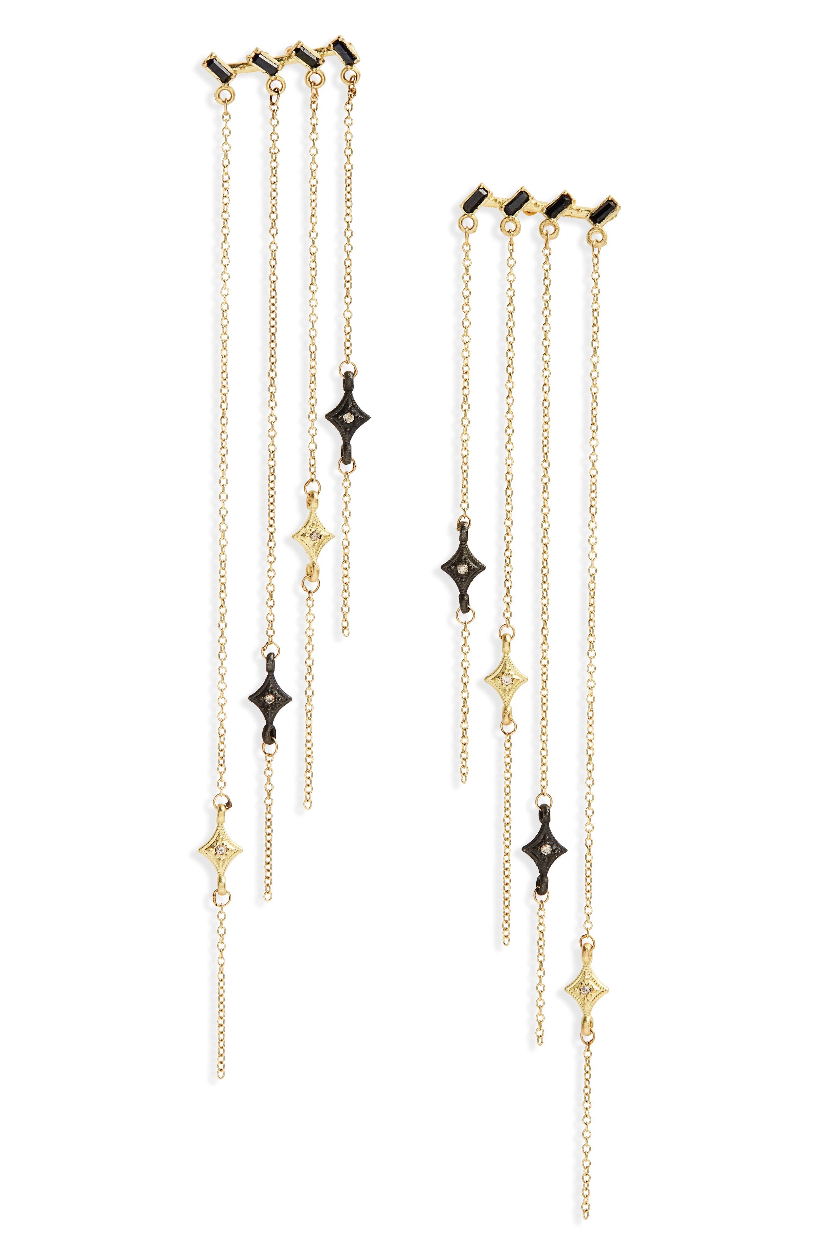 Old World Sapphire & Diamond Chandelier Earrings,                             Main thumbnail 1, color,                             GOLD