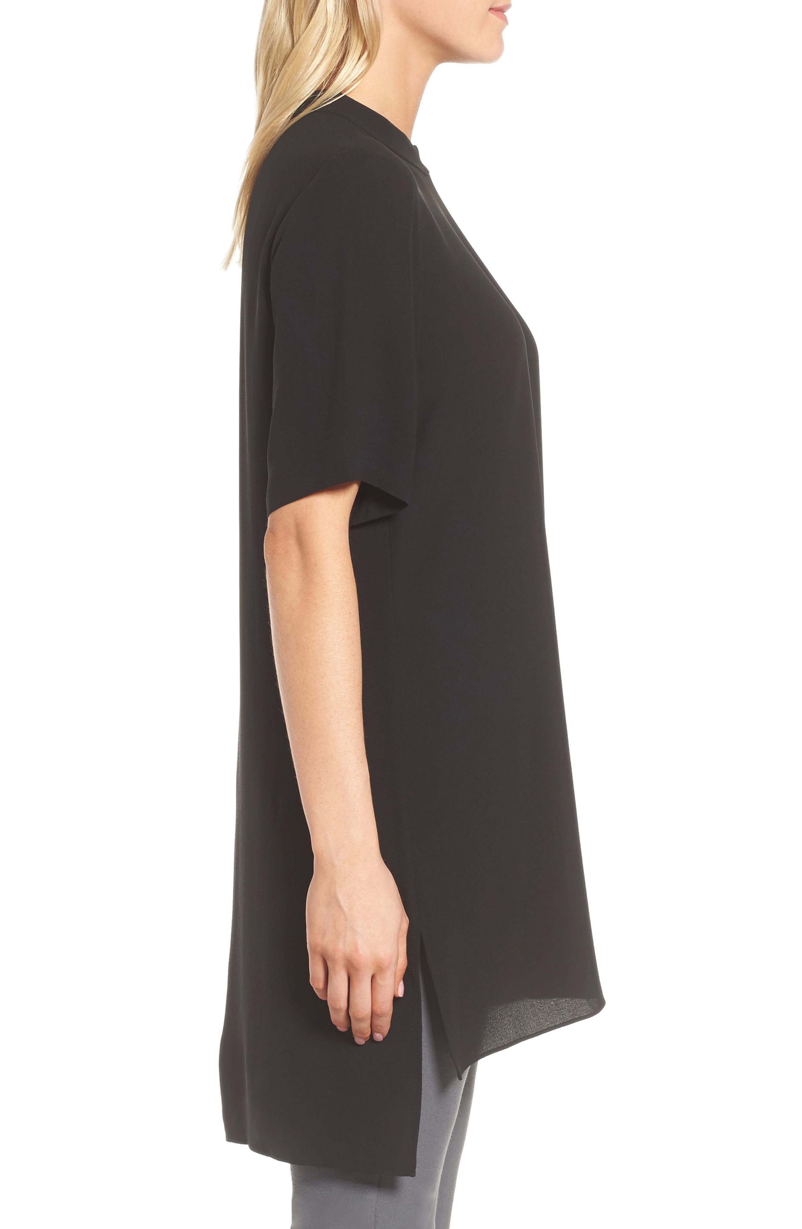 High Neck Silk Tunic,                             Alternate thumbnail 3, color,                             001