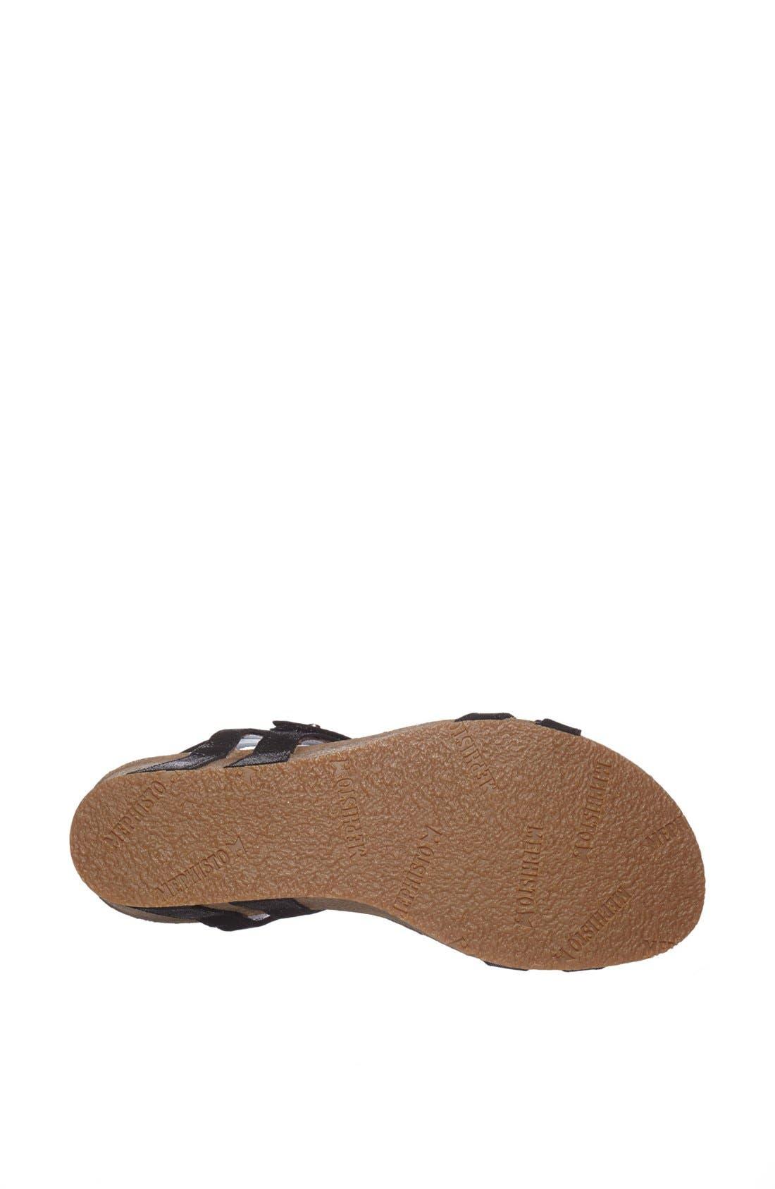 'Minoa' Wedge Sandal,                             Alternate thumbnail 3, color,                             BLACK