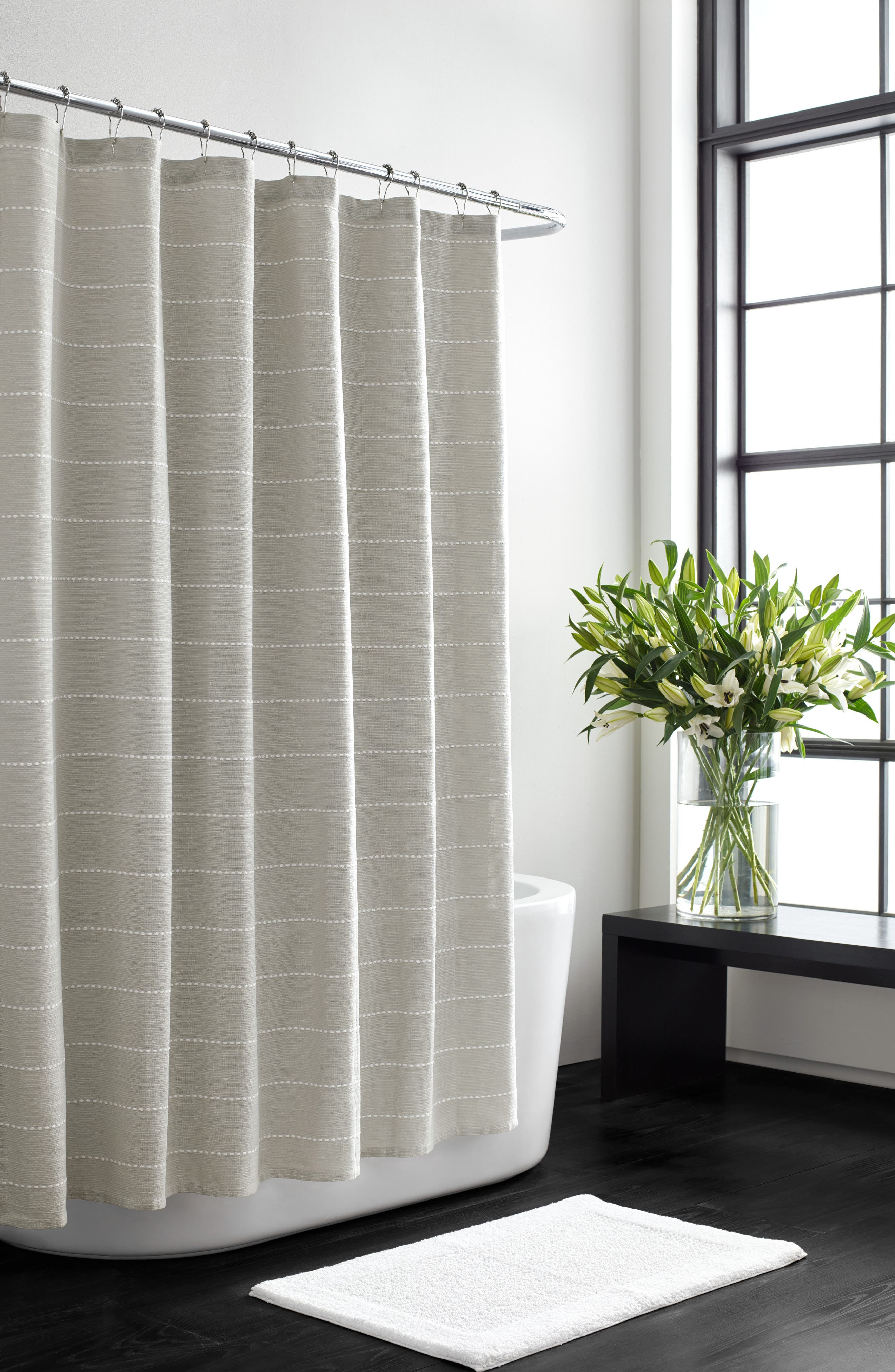VERA WANG,                             Embroidered Stripe Shower Curtain,                             Main thumbnail 1, color,                             AQUARMARINE/ WHITE