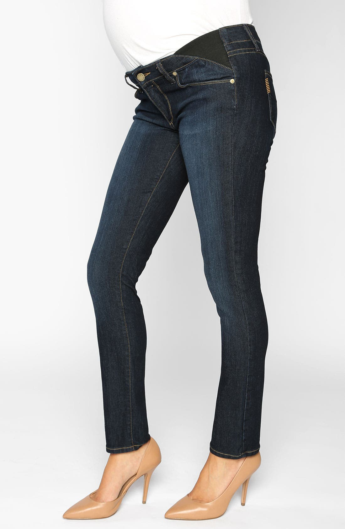Denim 'Skyline' Maternity Skinny Jeans,                             Main thumbnail 1, color,                             400