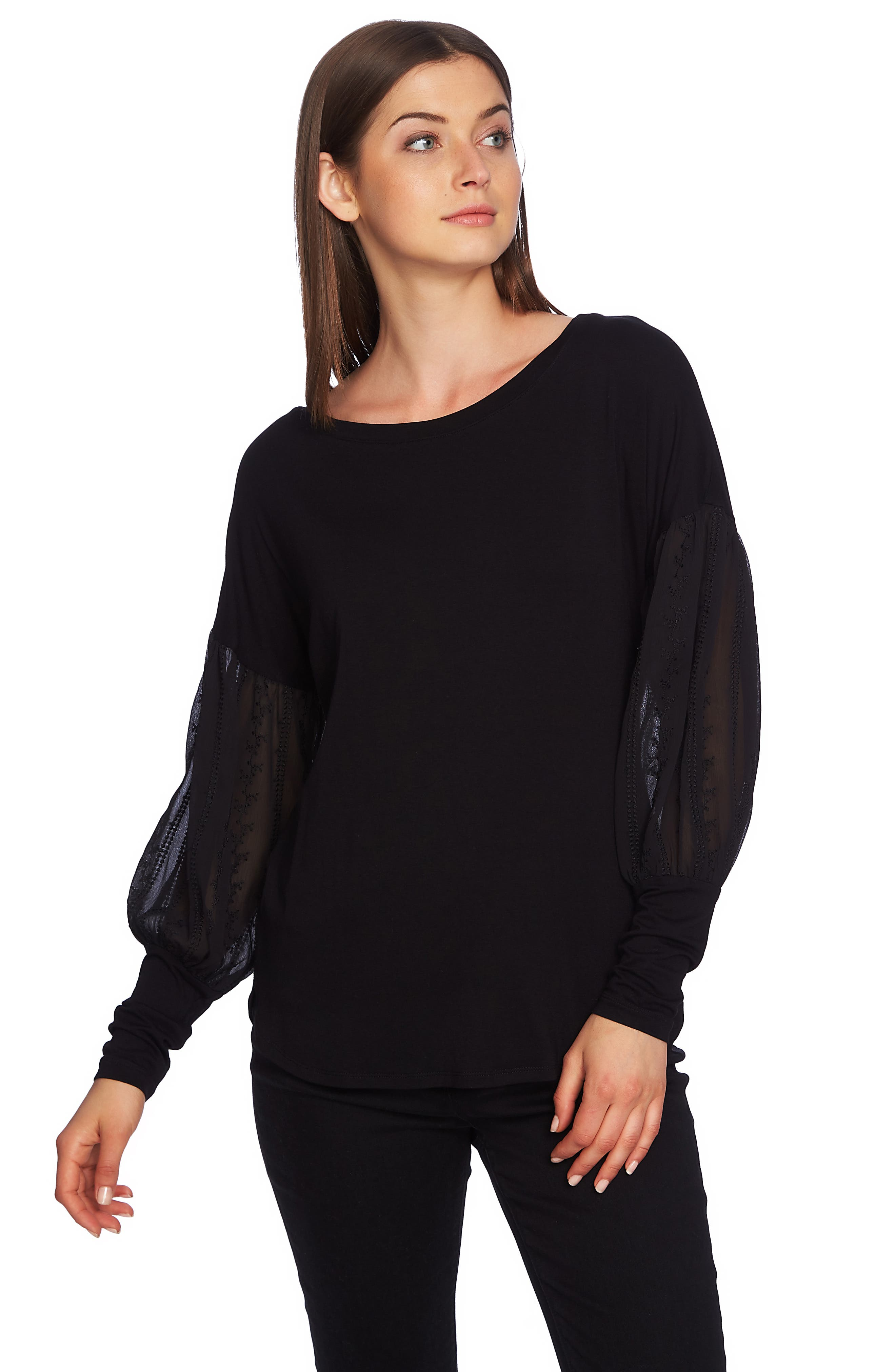 Embroidered Sleeve Swing Tee,                             Alternate thumbnail 3, color,                             RICH BLACK