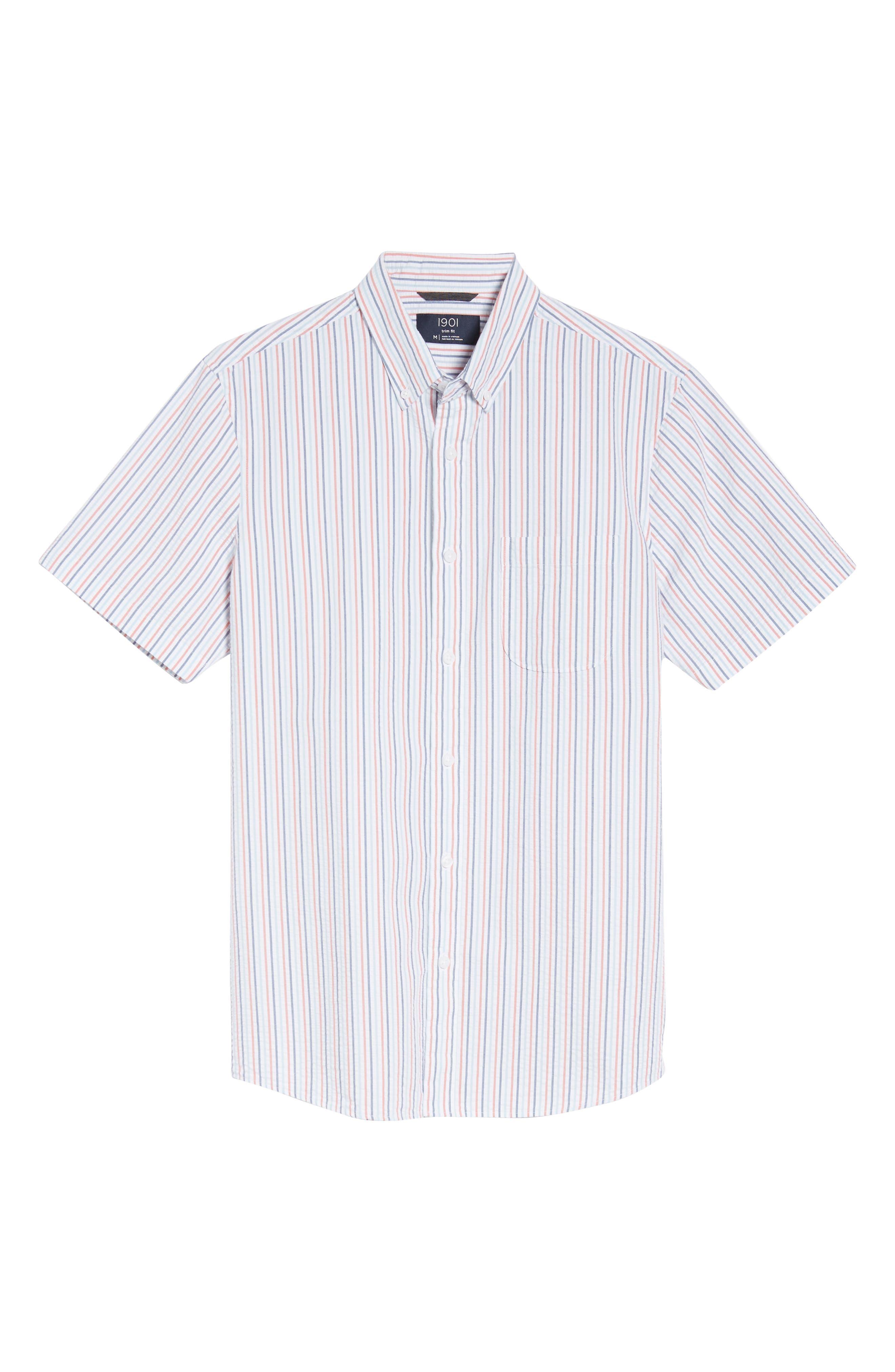 Trim Fit Seersucker Short Sleeve Sport Shirt,                             Alternate thumbnail 6, color,                             WHITE MULTI PENCIL STRIPE