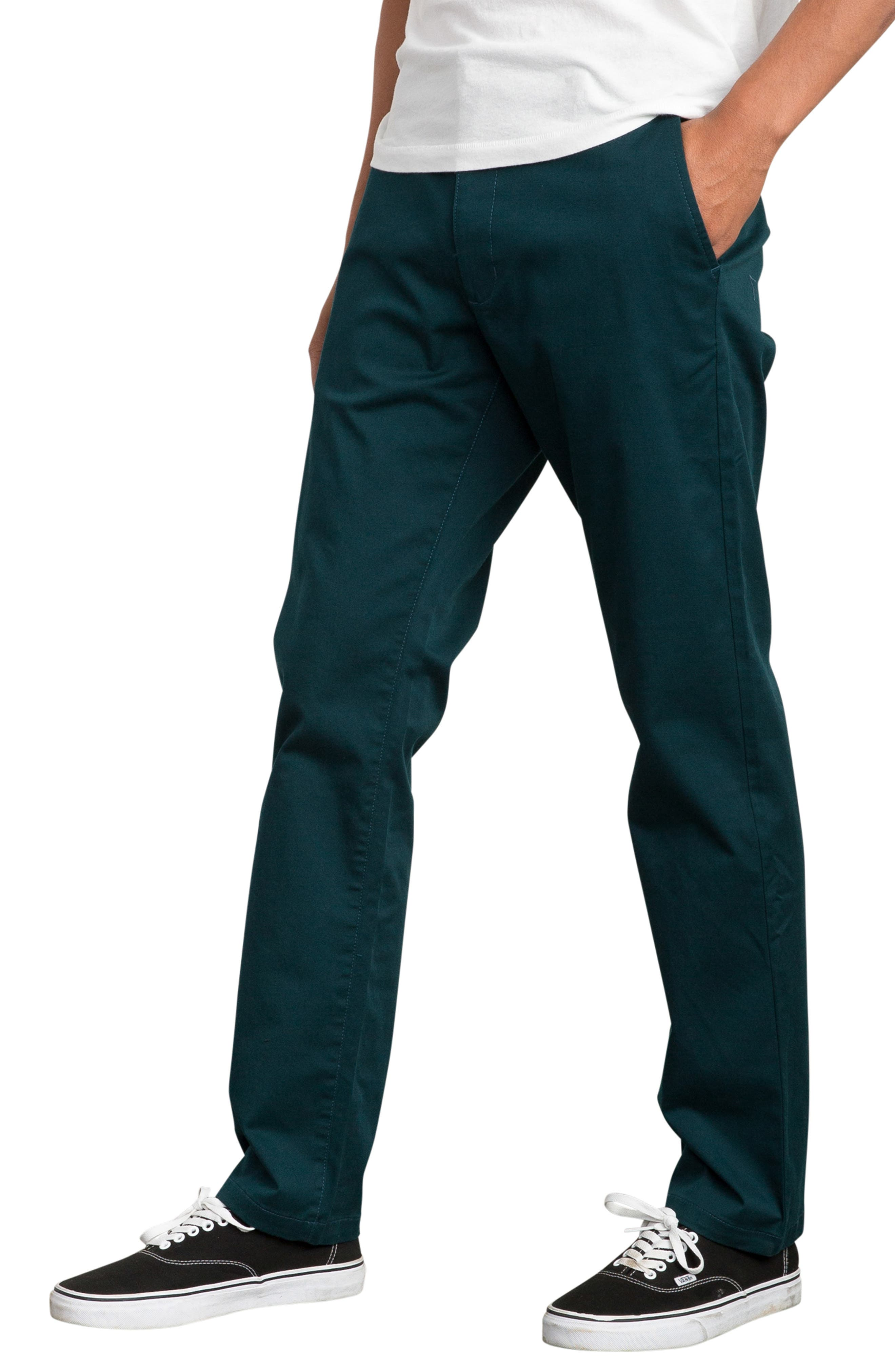 'The Week-End' Slim Straight Leg Stretch Twill Chinos,                             Alternate thumbnail 3, color,                             DARK FOREST