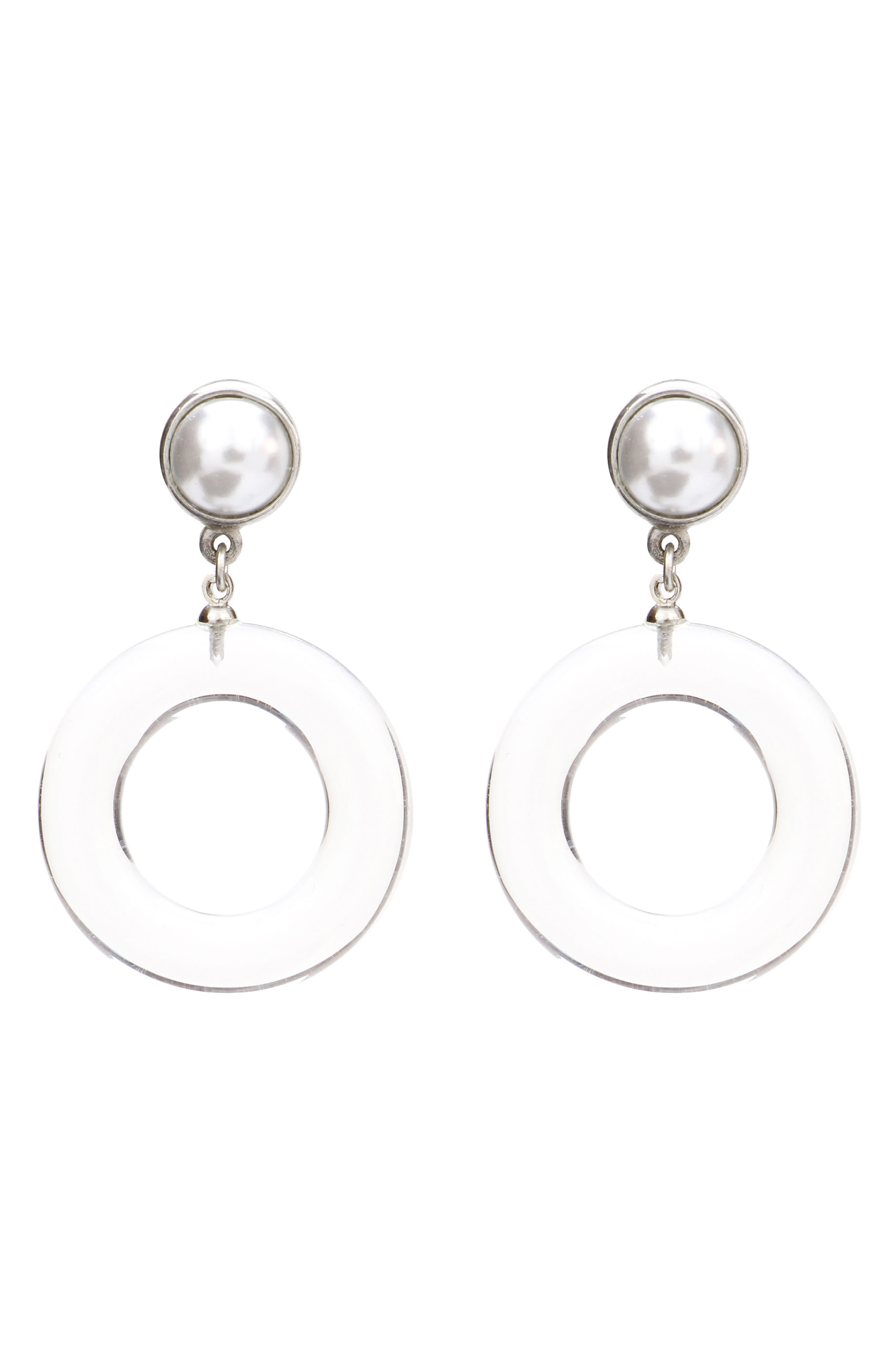 Imitation Pearl Clip Earrings,                         Main,                         color, CLEAR/ SILVER