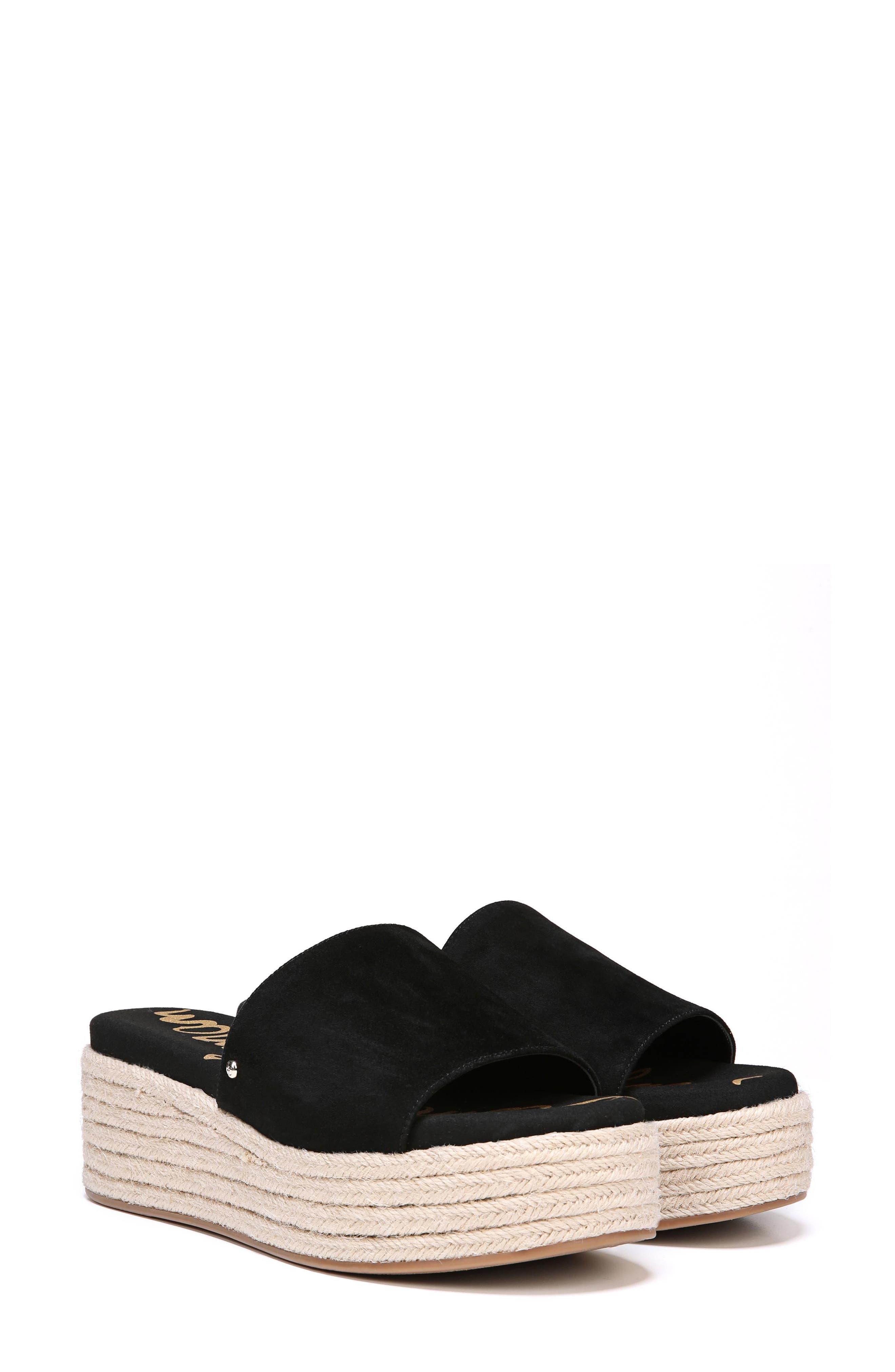 Weslee Platform Slide Sandal,                             Alternate thumbnail 7, color,                             BLACK SUEDE