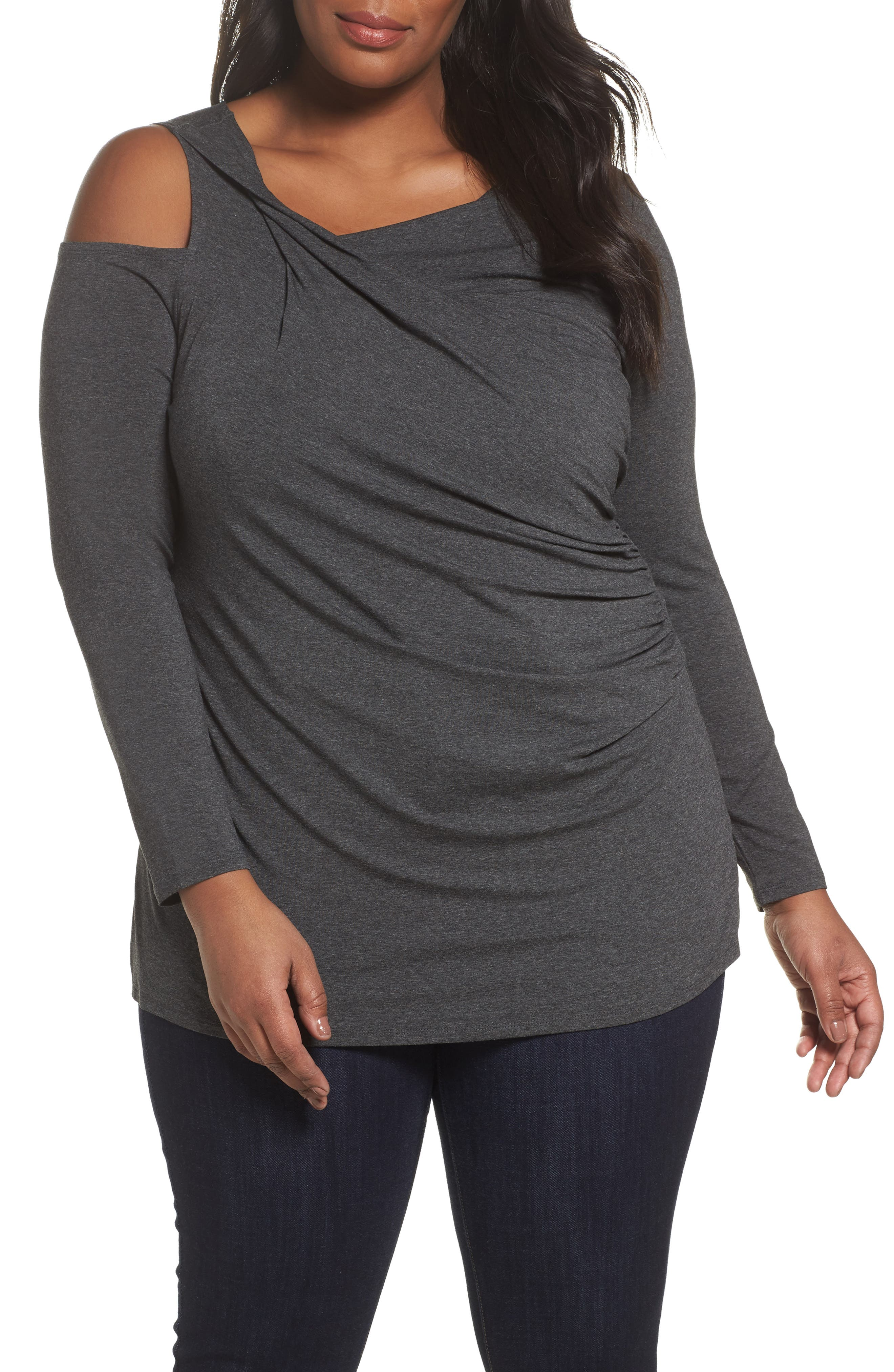 Twisted Cold Shoulder Top,                             Main thumbnail 1, color,                             023