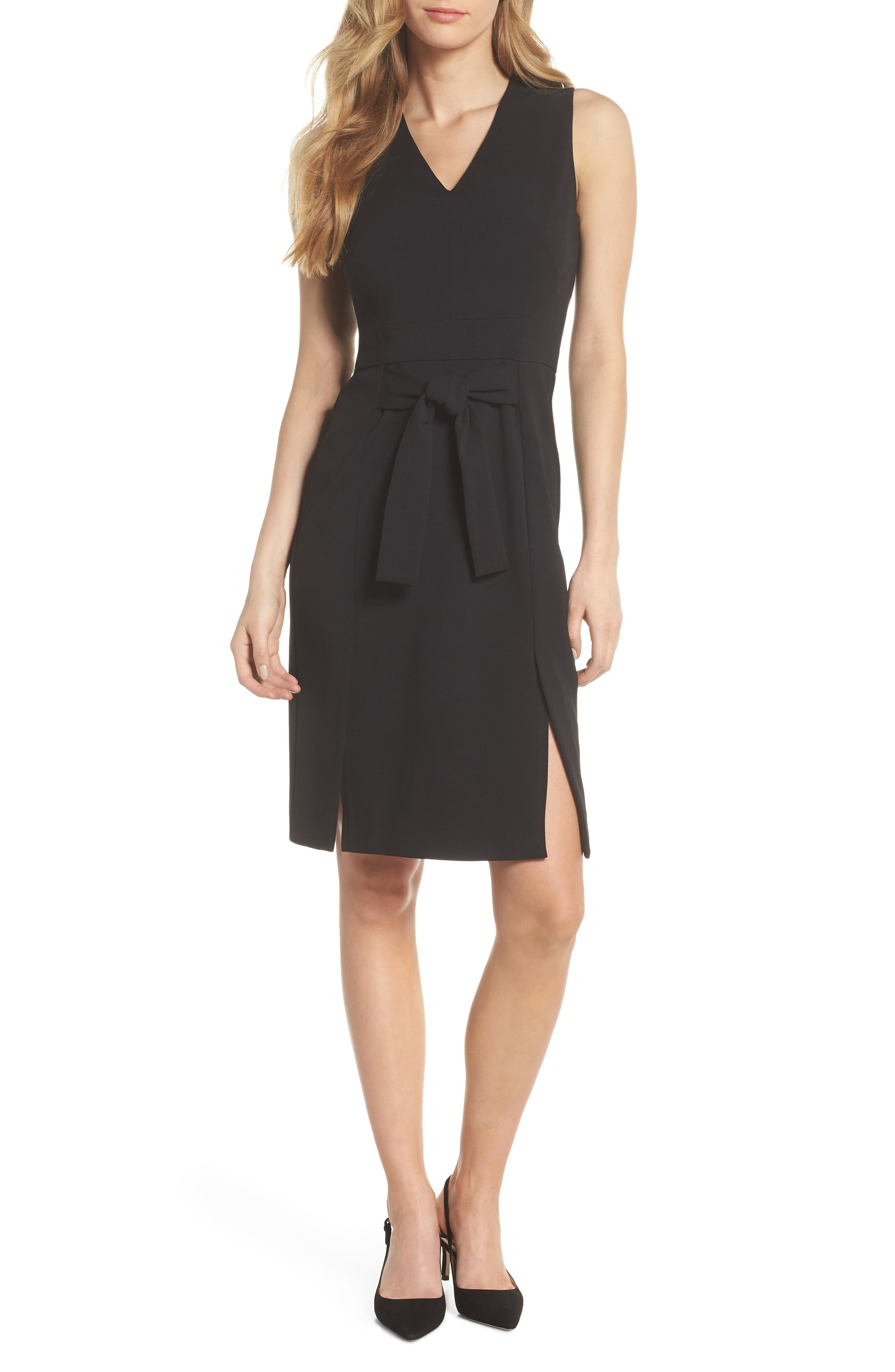 Scuba Crepe Sheath Dress,                             Main thumbnail 1, color,                             BLACK