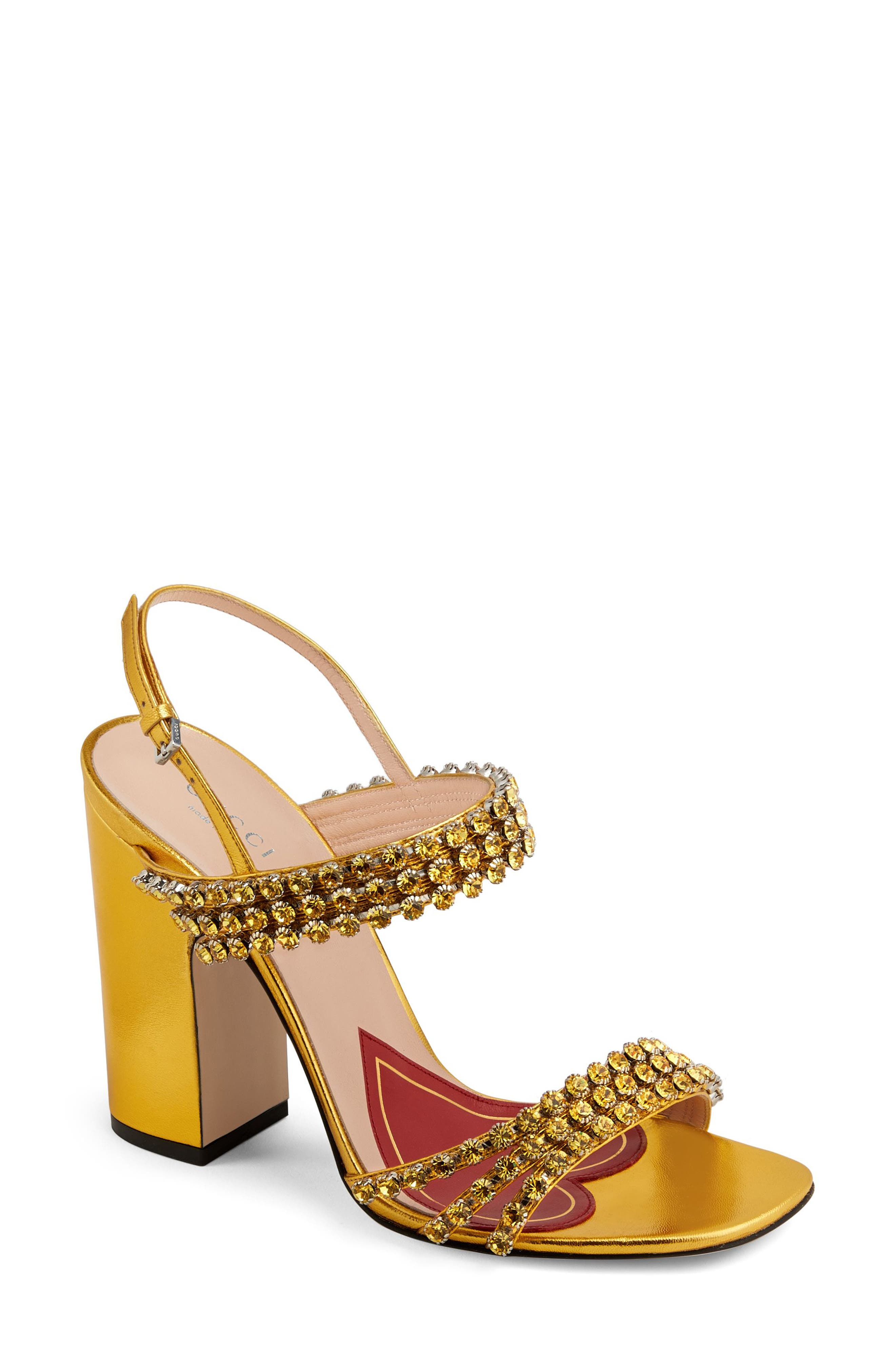 Bertie Jewel Sandal,                         Main,                         color, GOLD LEATHER