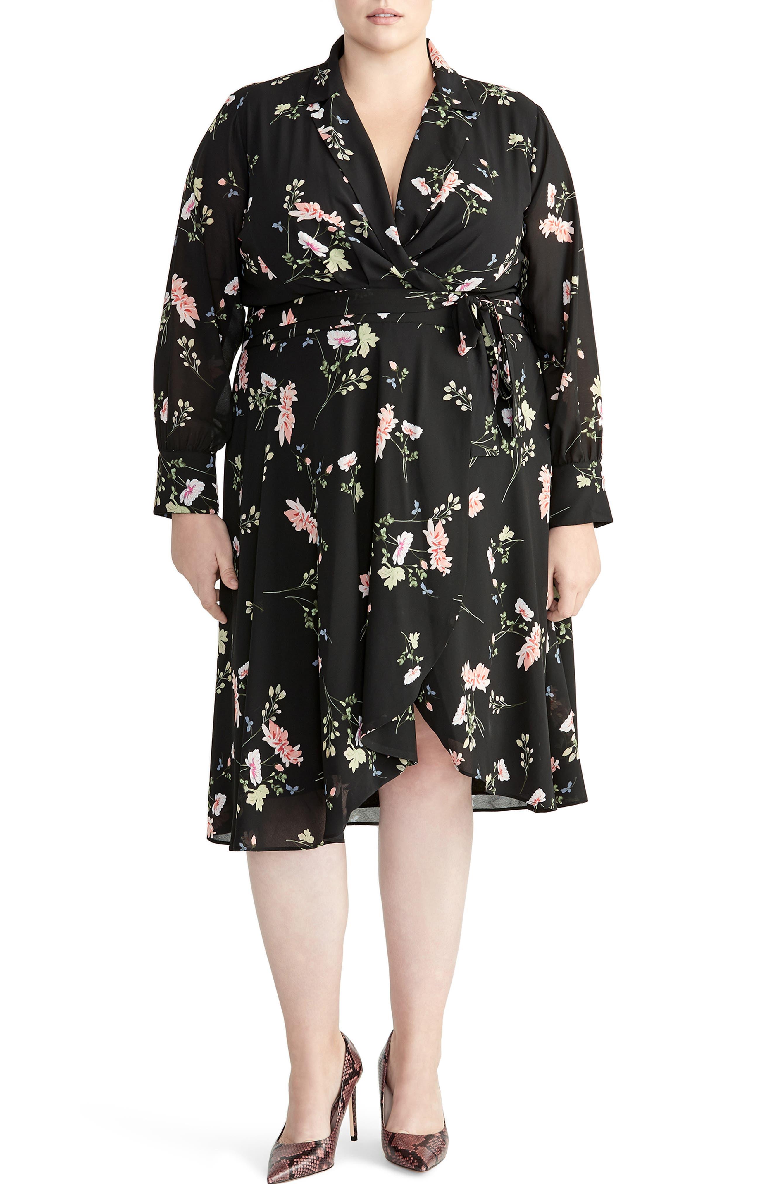 Plus Size Rachel Roy Collection Floral Cascade Wrap Dress, Black