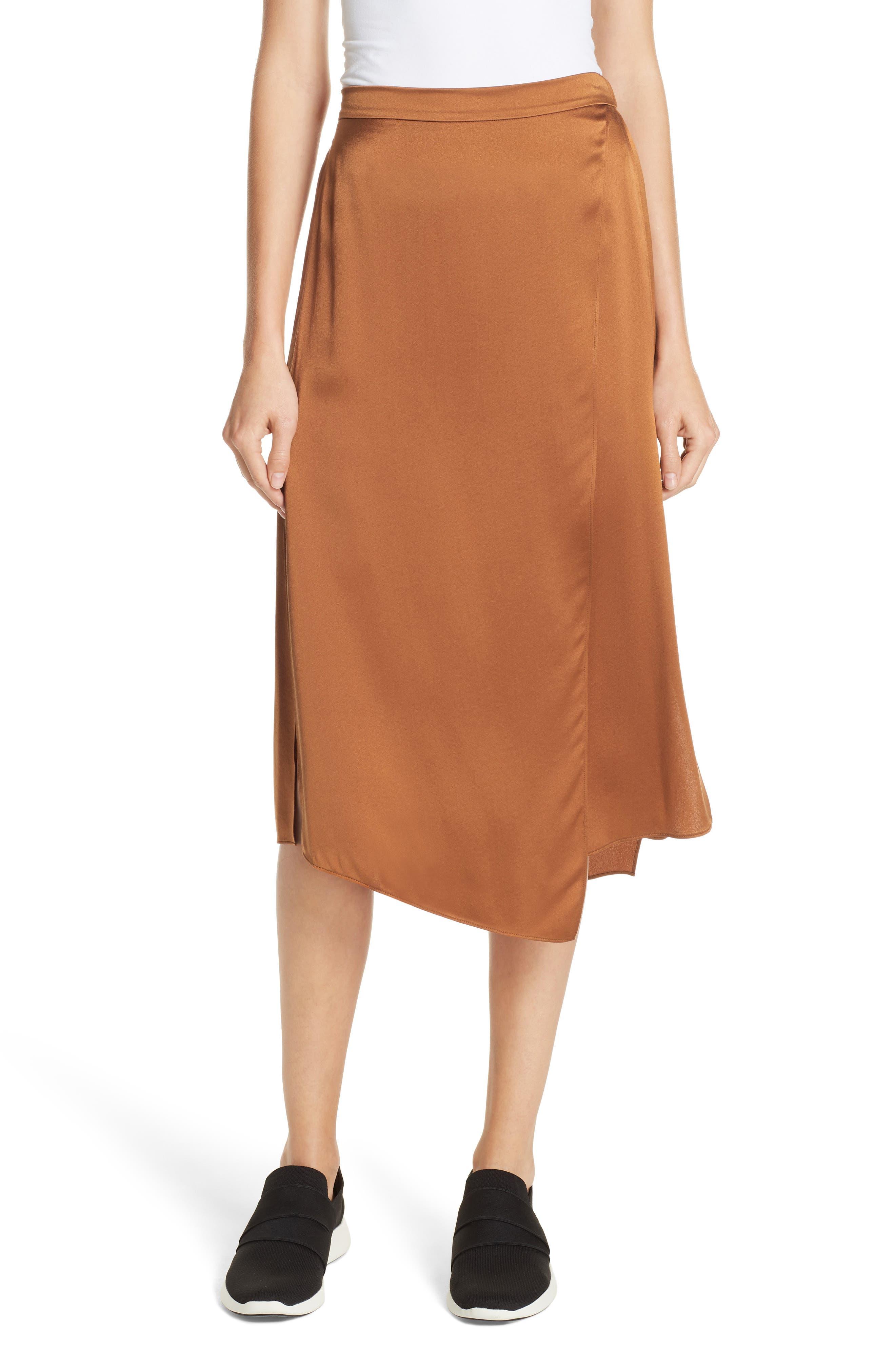 Drape Panel Silk Skirt,                         Main,                         color, LIGHT COPPER