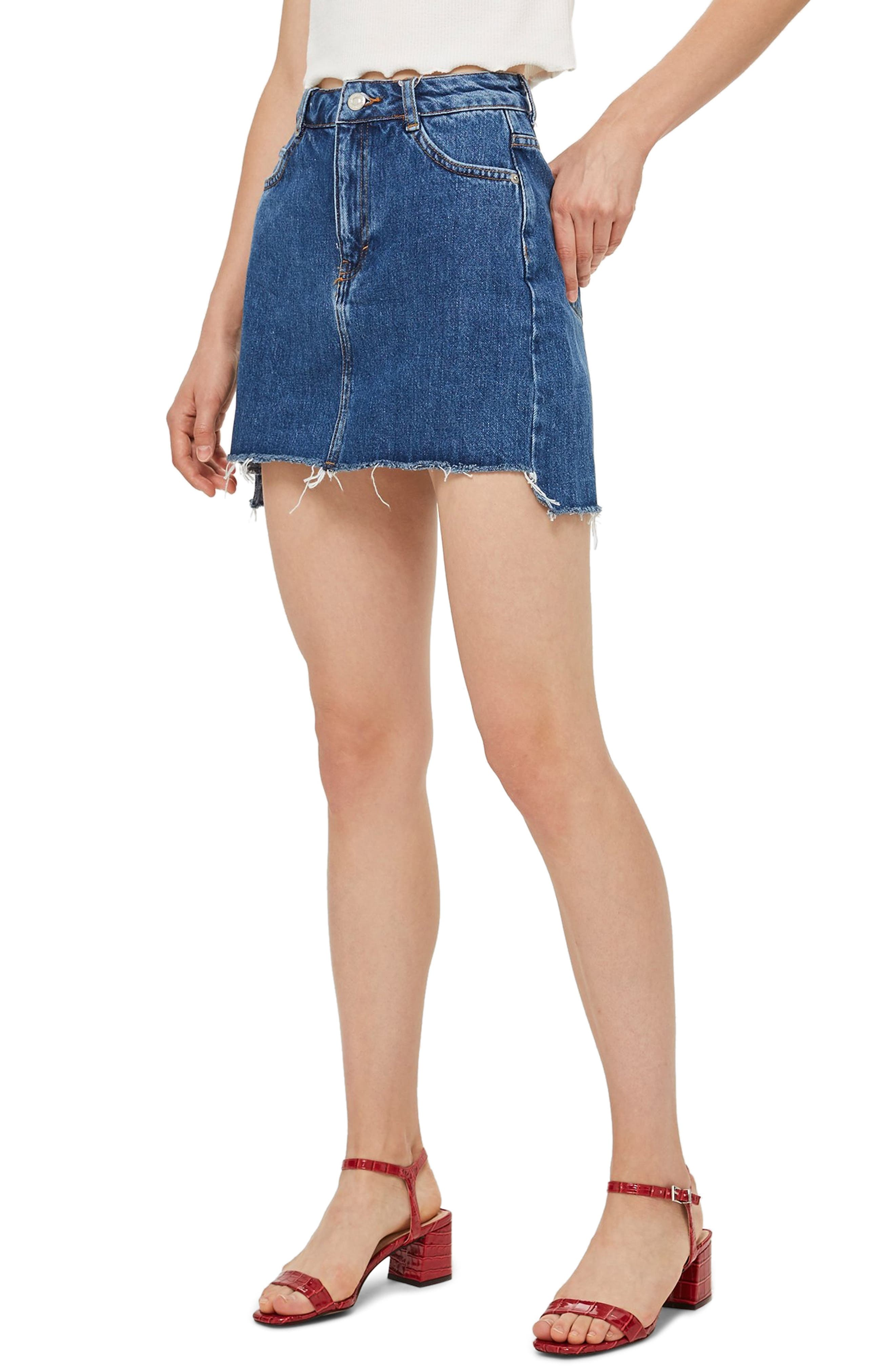 TOPSHOP,                             Step Hem Denim Skirt,                             Main thumbnail 1, color,                             MID DENIM