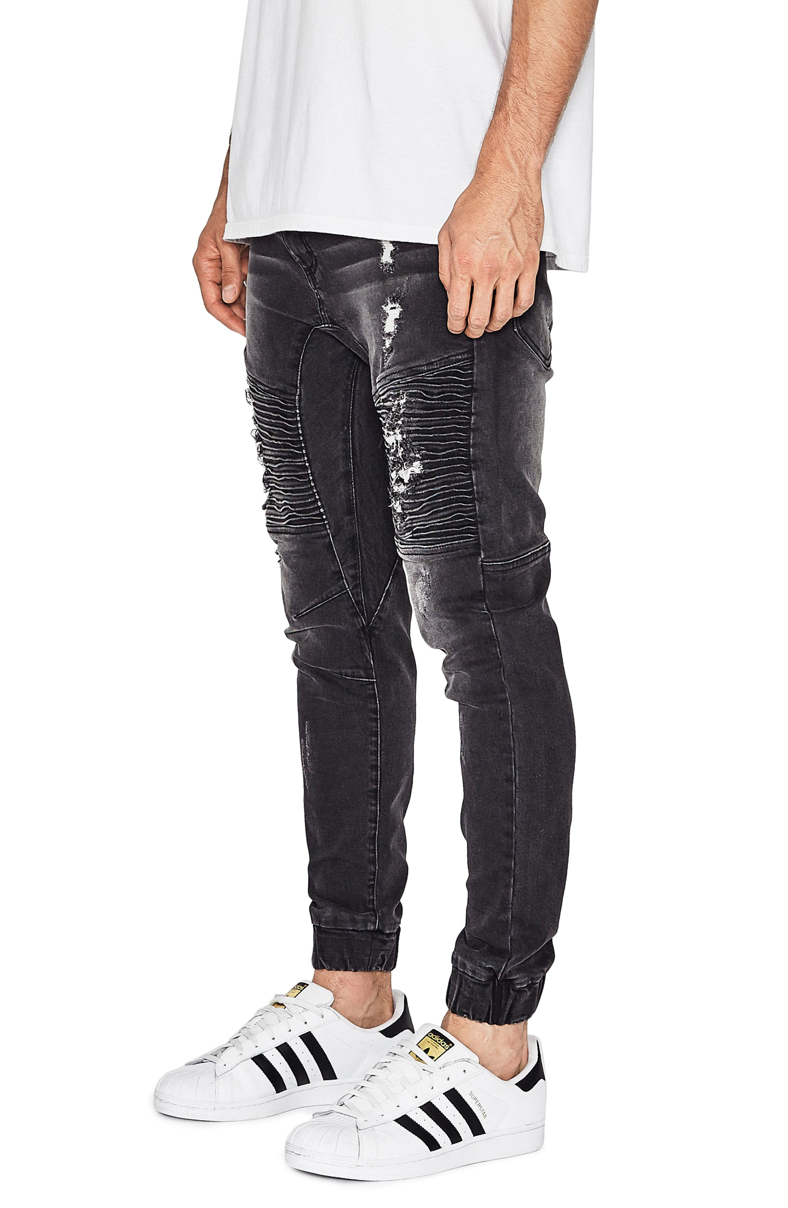 Destroyer Moto Denim Jogger Pants,                             Alternate thumbnail 3, color,                             014