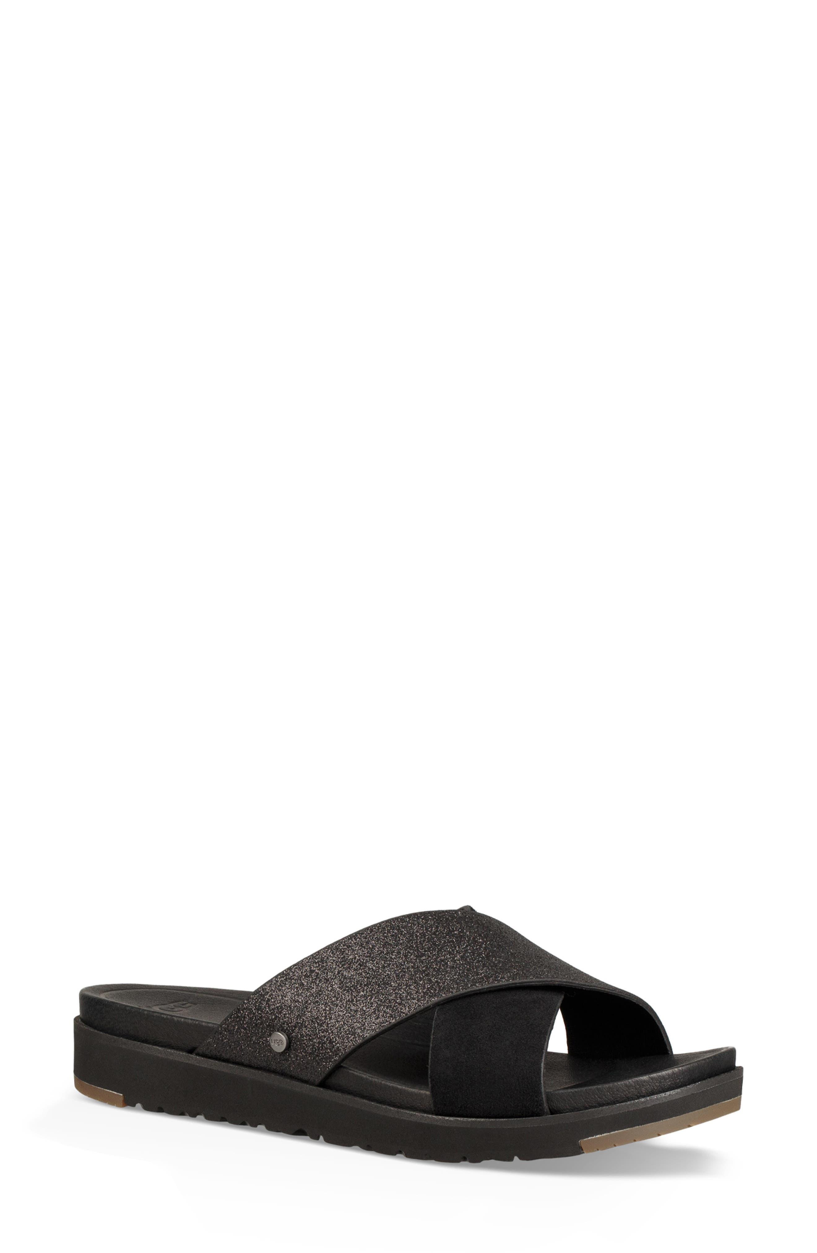 Kari Glitter Slide Sandal,                             Main thumbnail 1, color,                             BLACK LEATHER