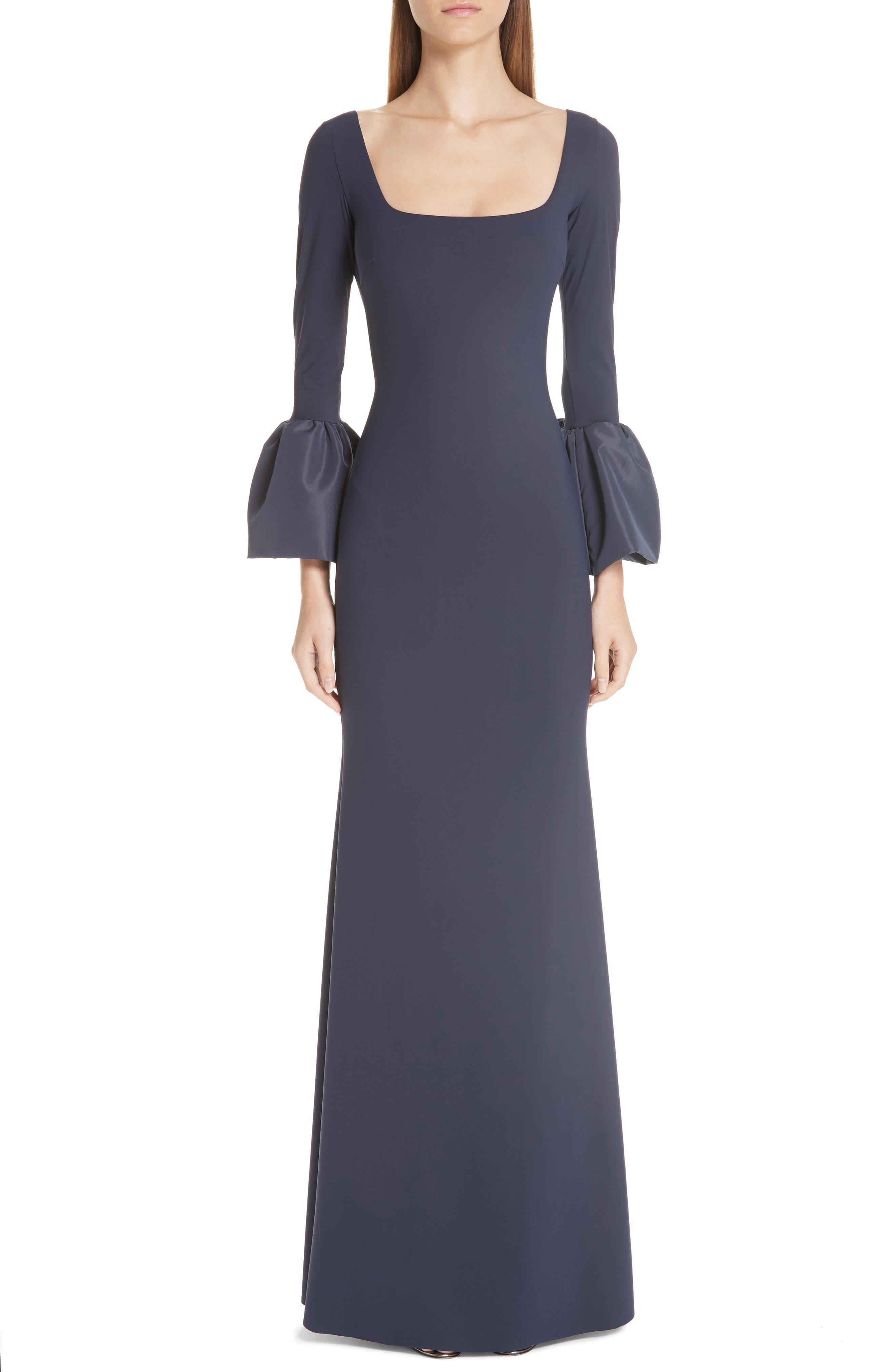 Chiara Boni La Petite Robe Aarymalda Bell Sleeve Gown, 8 IT - Blue