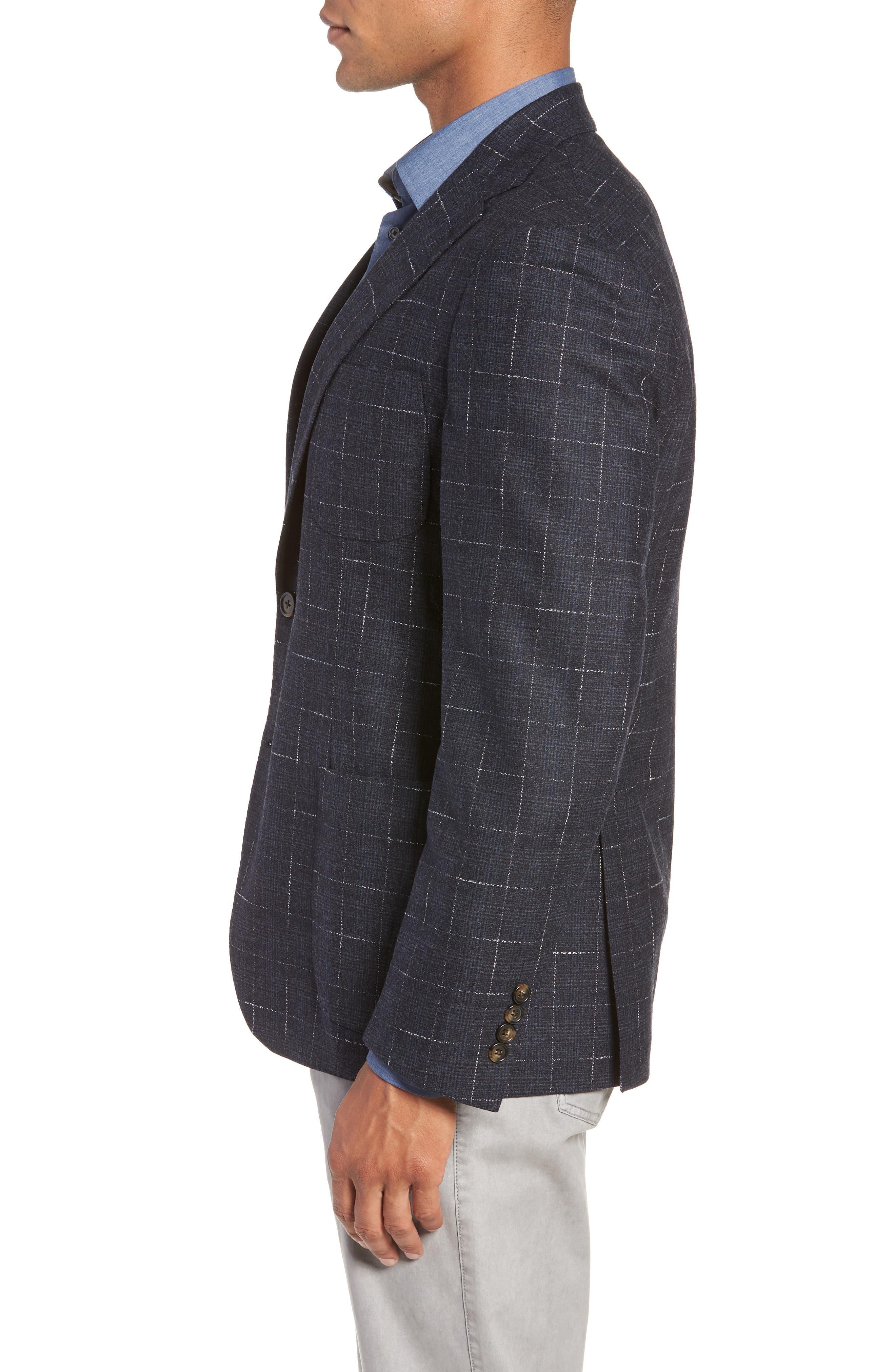 Trim Fit Stretch Plaid Wool Sport Coat,                             Alternate thumbnail 3, color,                             NAVY