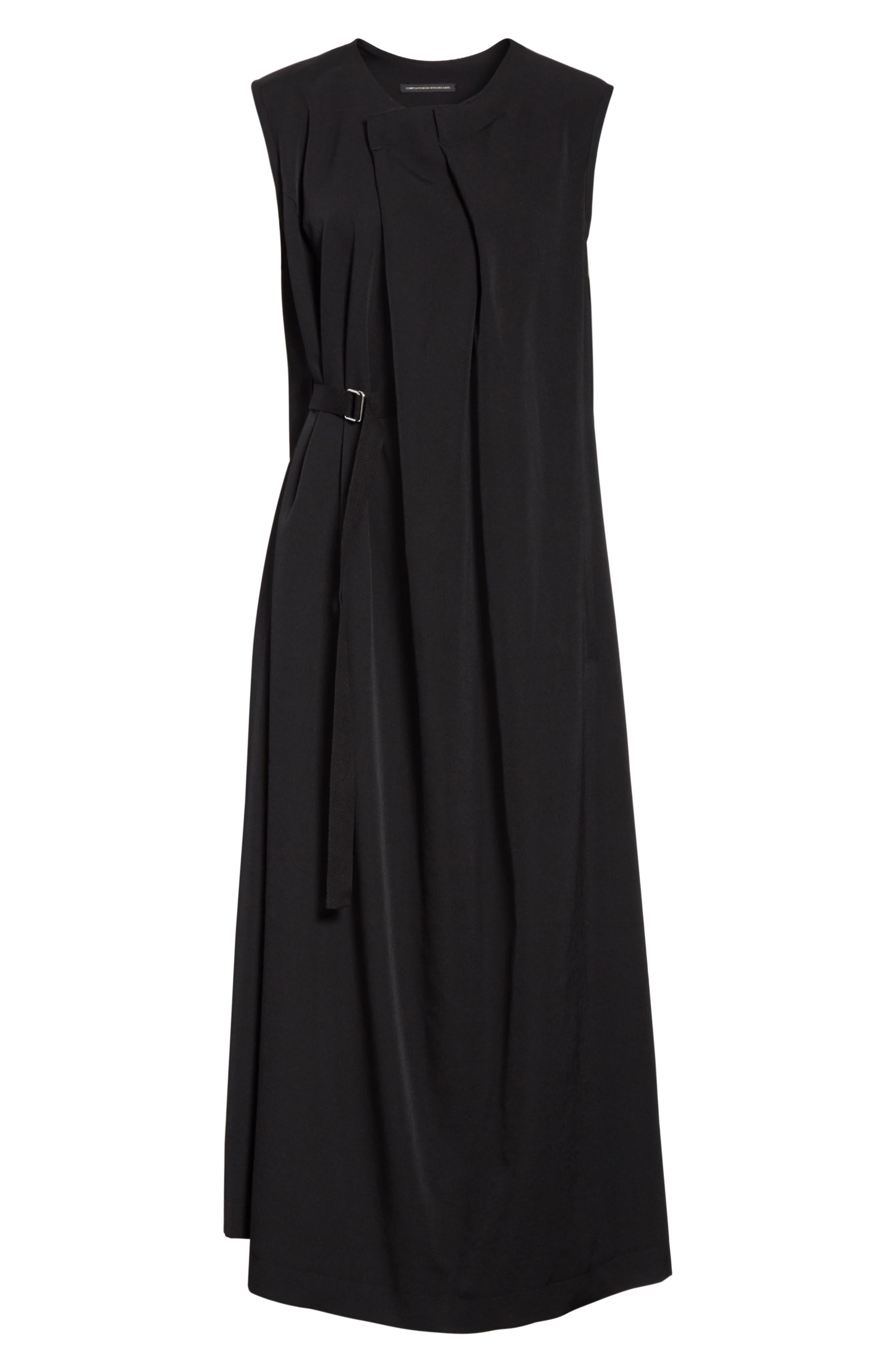 N-F Pleats Dress,                             Alternate thumbnail 6, color,                             001
