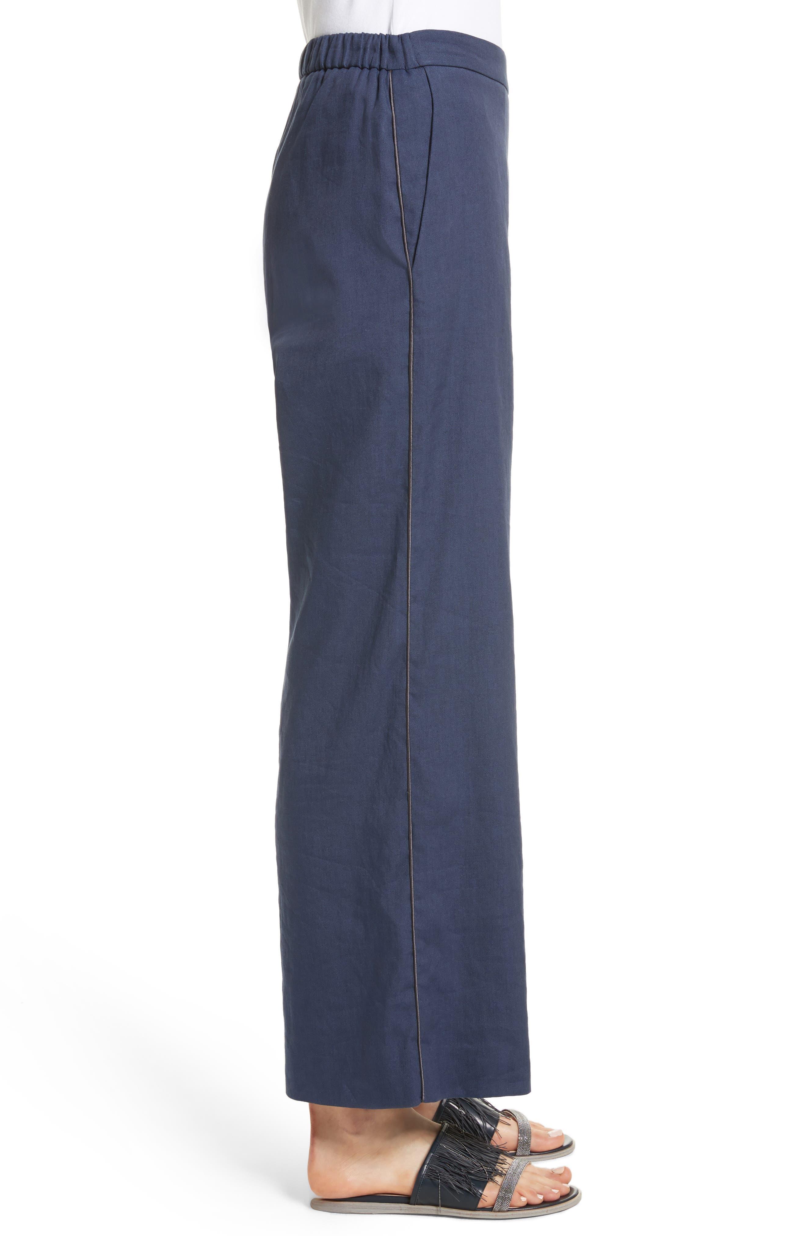 Linen Blend Wide Leg Crop Pants,                             Alternate thumbnail 3, color,                             400