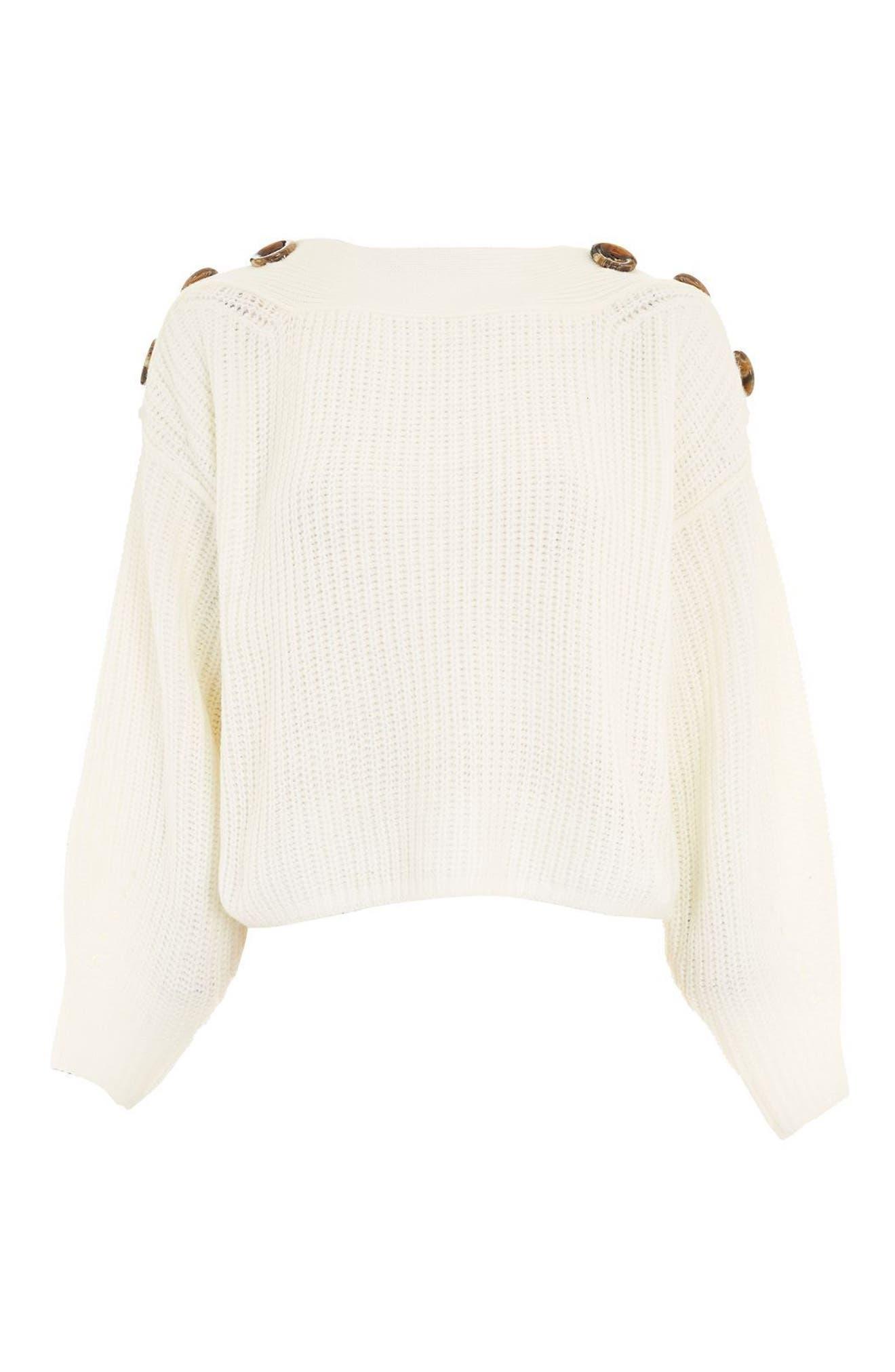 Button Slash Knit Sweater,                             Alternate thumbnail 3, color,
