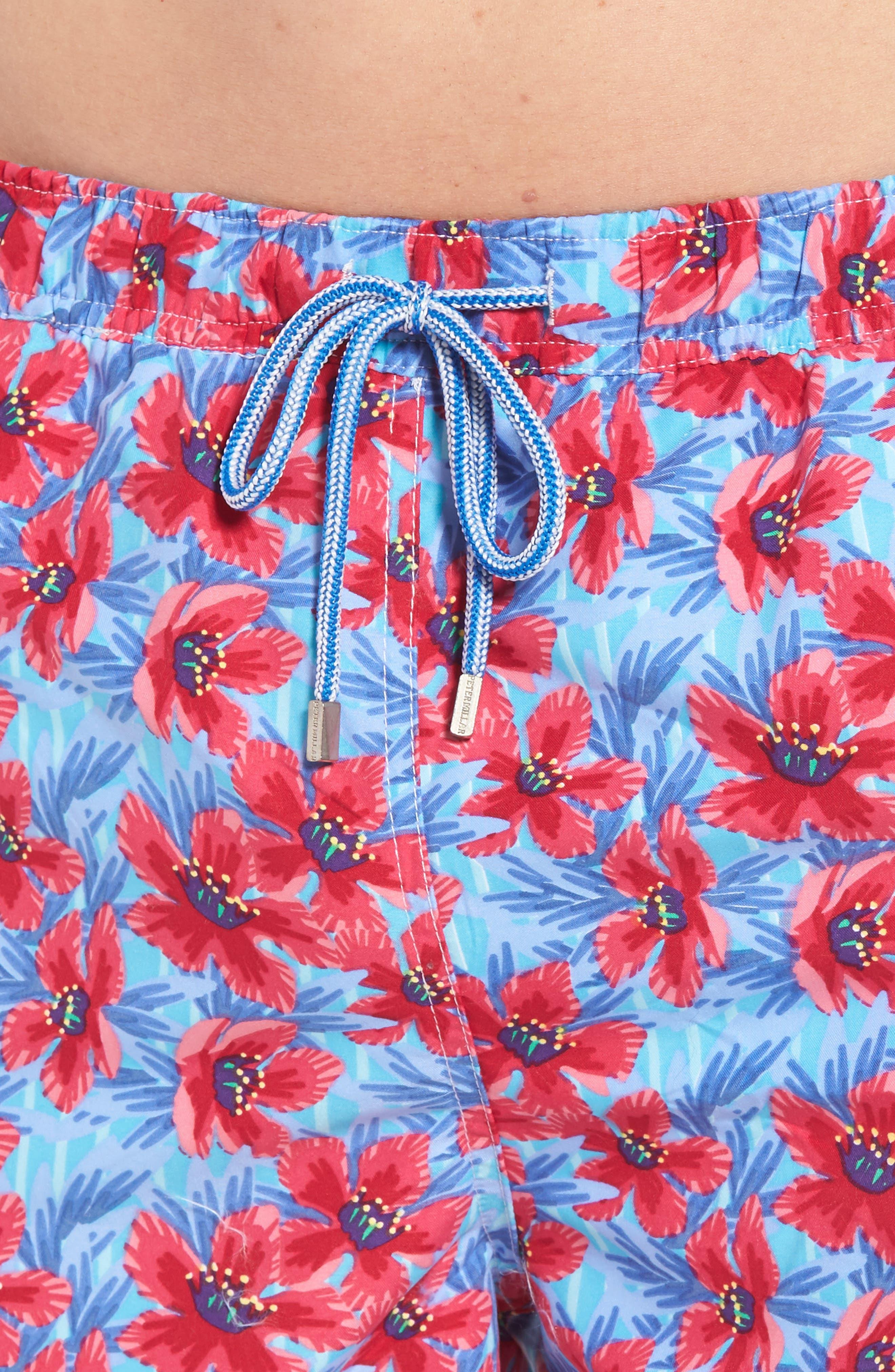 Spanish Flowers Swim Trunks,                             Alternate thumbnail 4, color,                             CERAMIC
