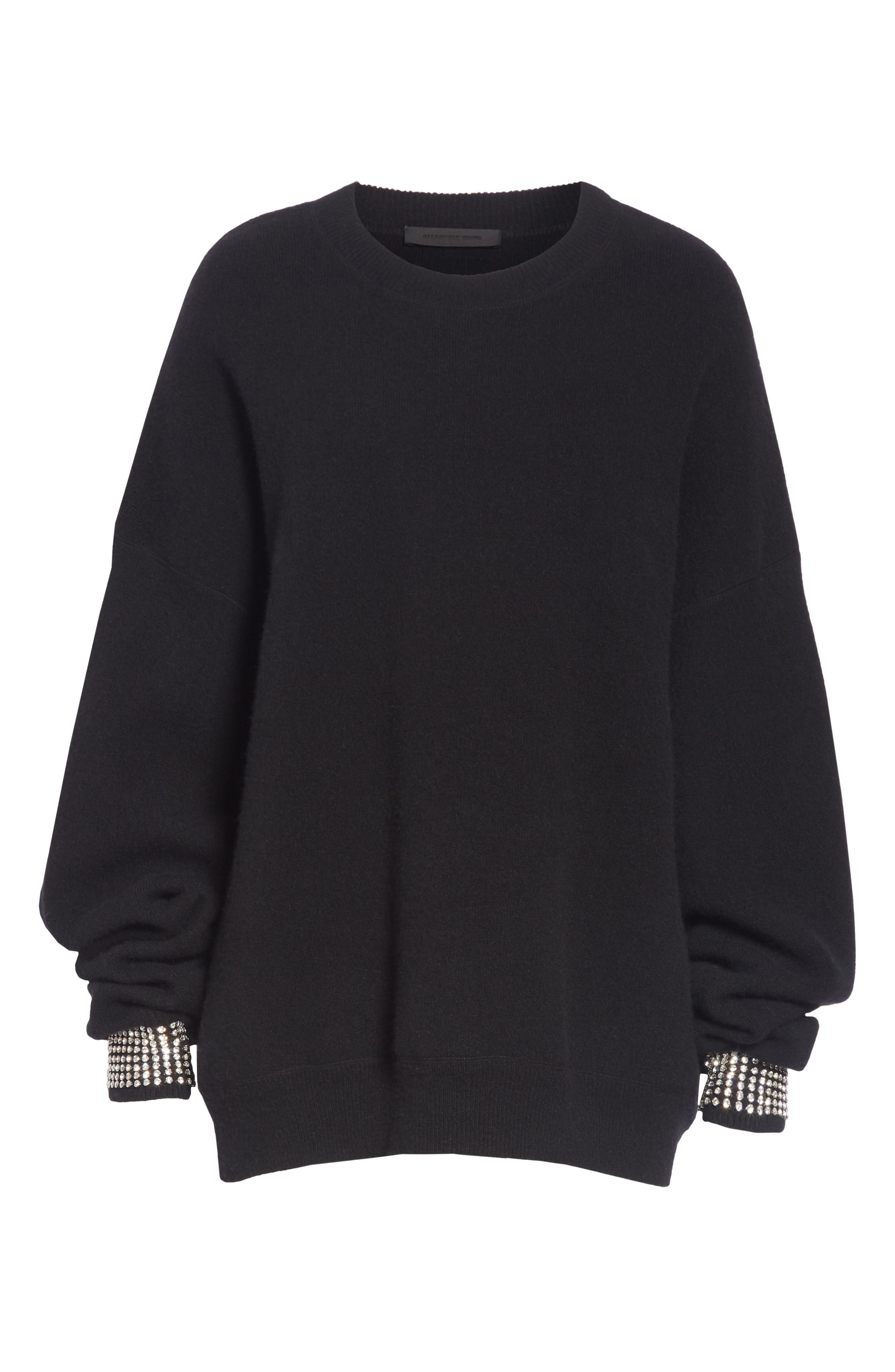 Crystal Cuff Wool Blend Sweater,                             Alternate thumbnail 7, color,                             BLACK