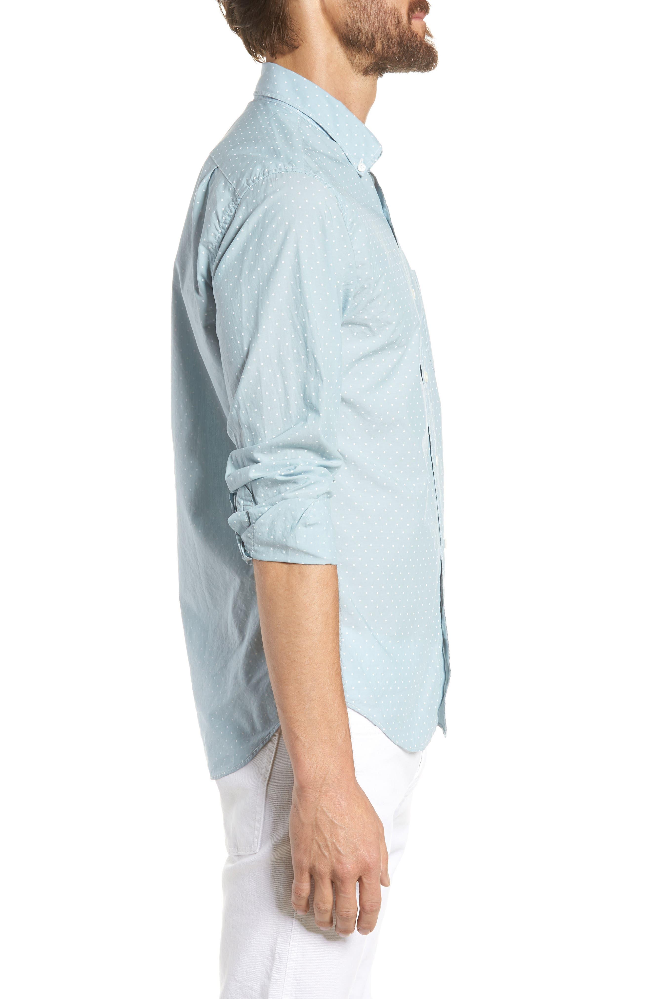 Summerweight Slim Fit Dot Sport Shirt,                             Alternate thumbnail 4, color,                             400