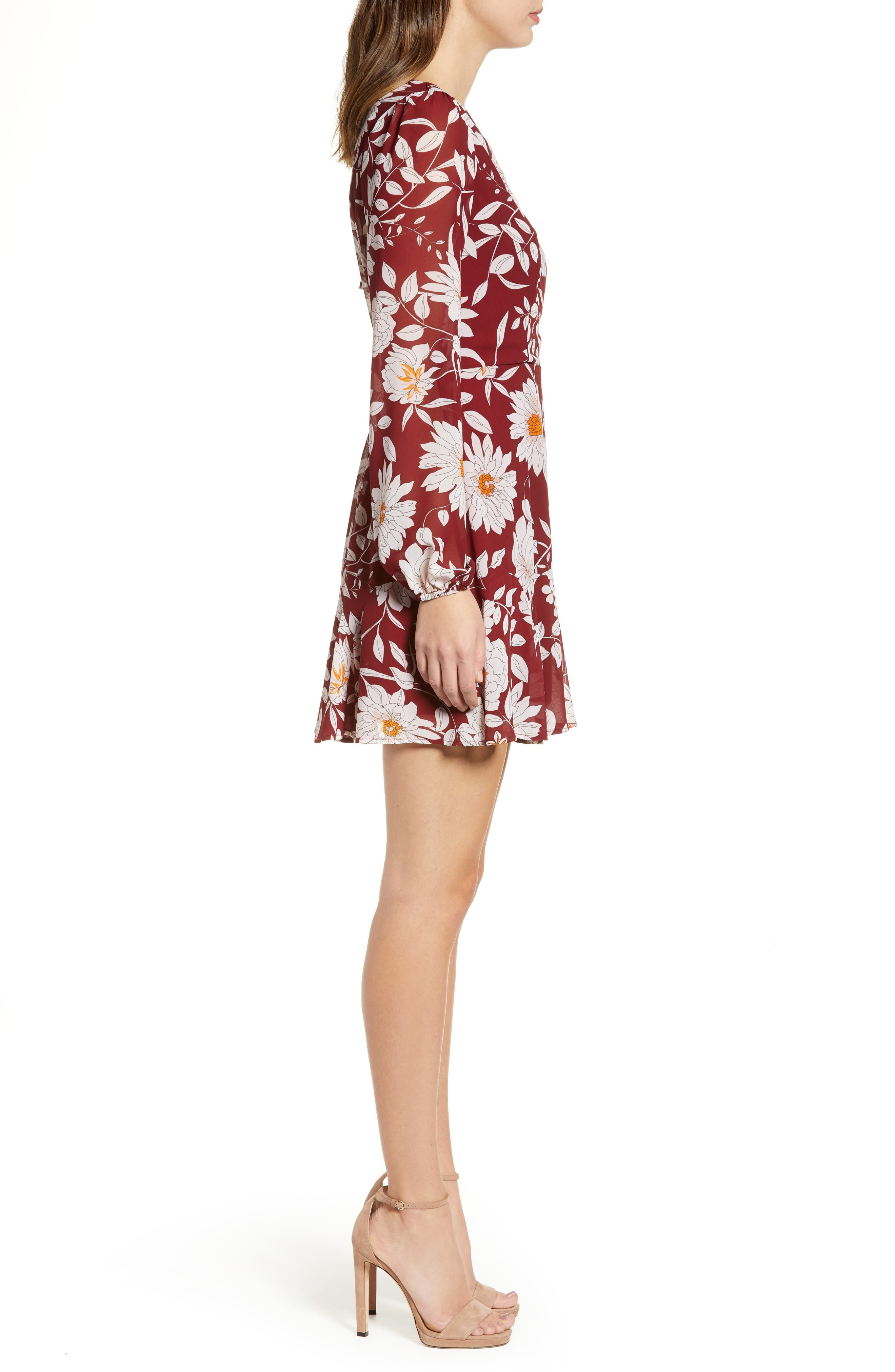 ROW A,                             Floral Print Minidress,                             Alternate thumbnail 3, color,                             RED FLORAL