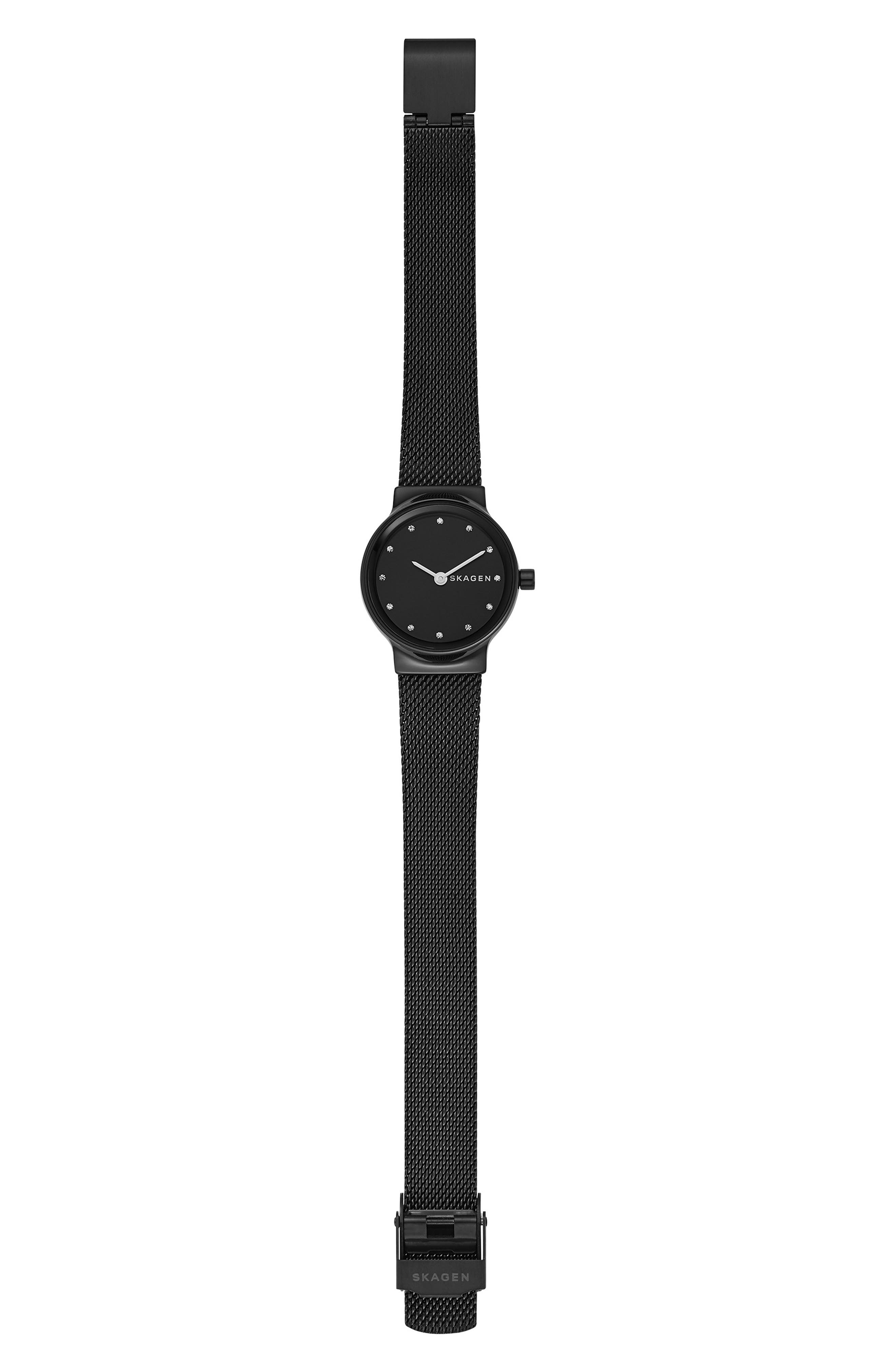 Freja Crystal Accent Mesh Strap Watch, 26mm,                             Alternate thumbnail 4, color,                             001