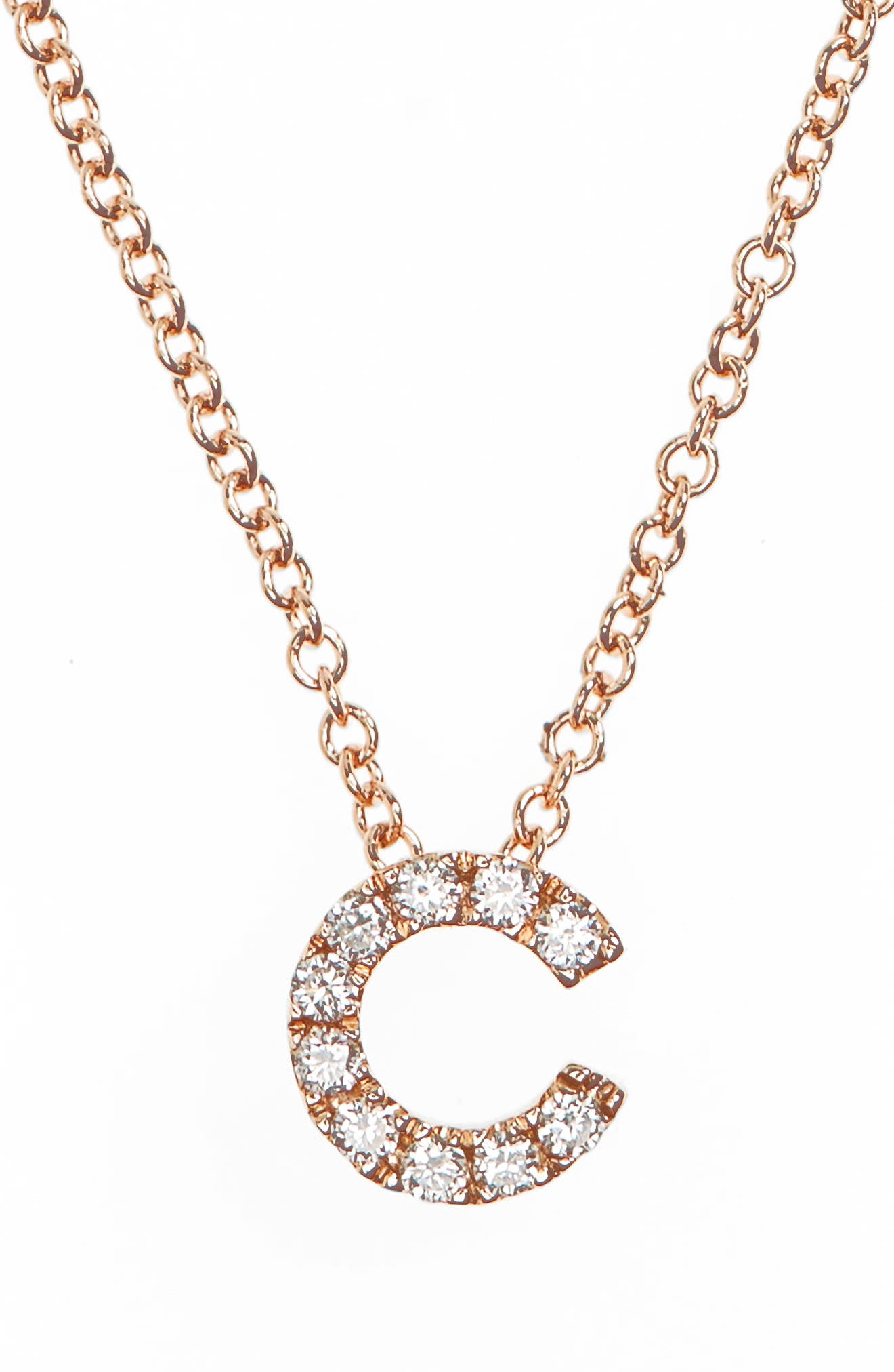 18k Gold Pavé Diamond Initial Pendant Necklace,                         Main,                         color, ROSE GOLD - C