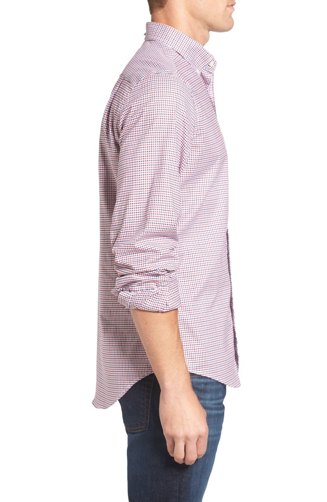 Gingham Fitted Sport Shirt,                             Alternate thumbnail 6, color,