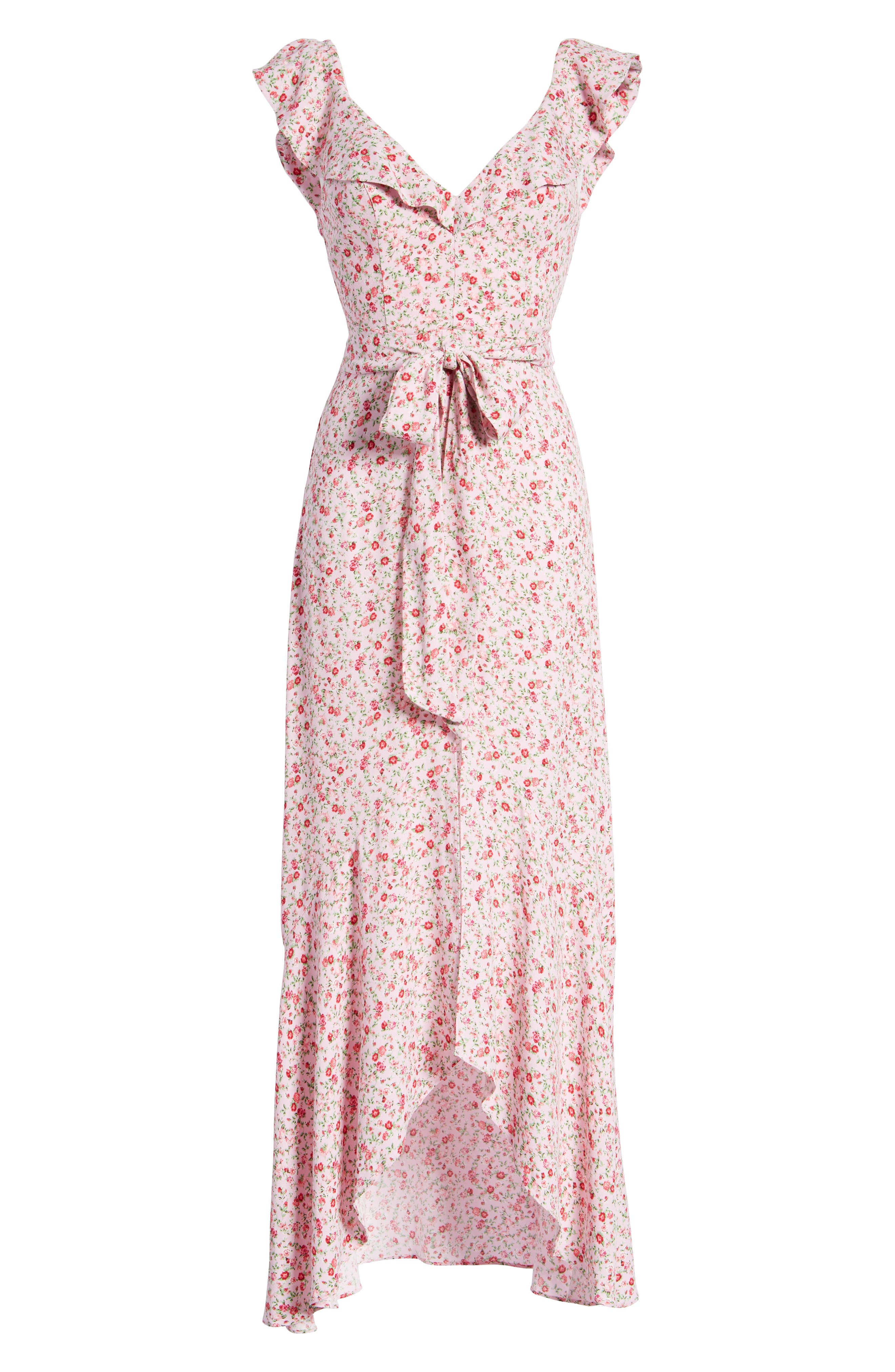 Lucie Maxi Dress,                             Alternate thumbnail 7, color,                             BABY PINK DITSY