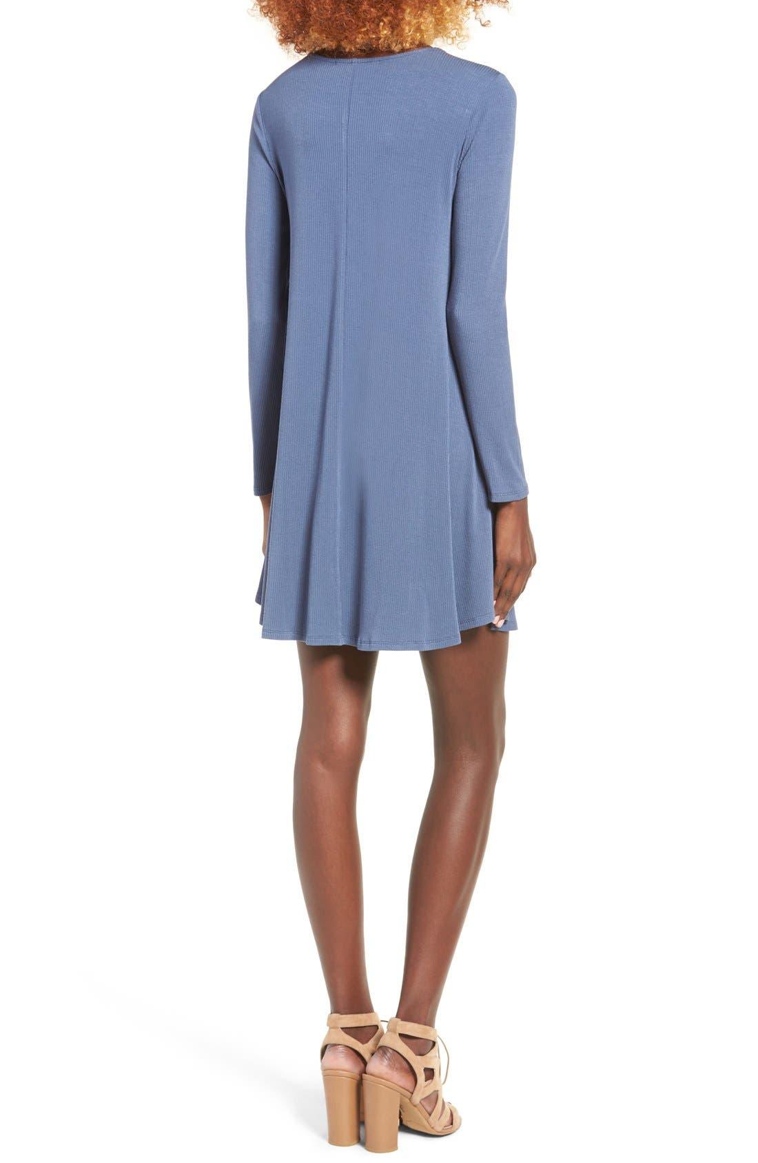 Rib Knit Lace-Up Swing Dress,                             Alternate thumbnail 6, color,