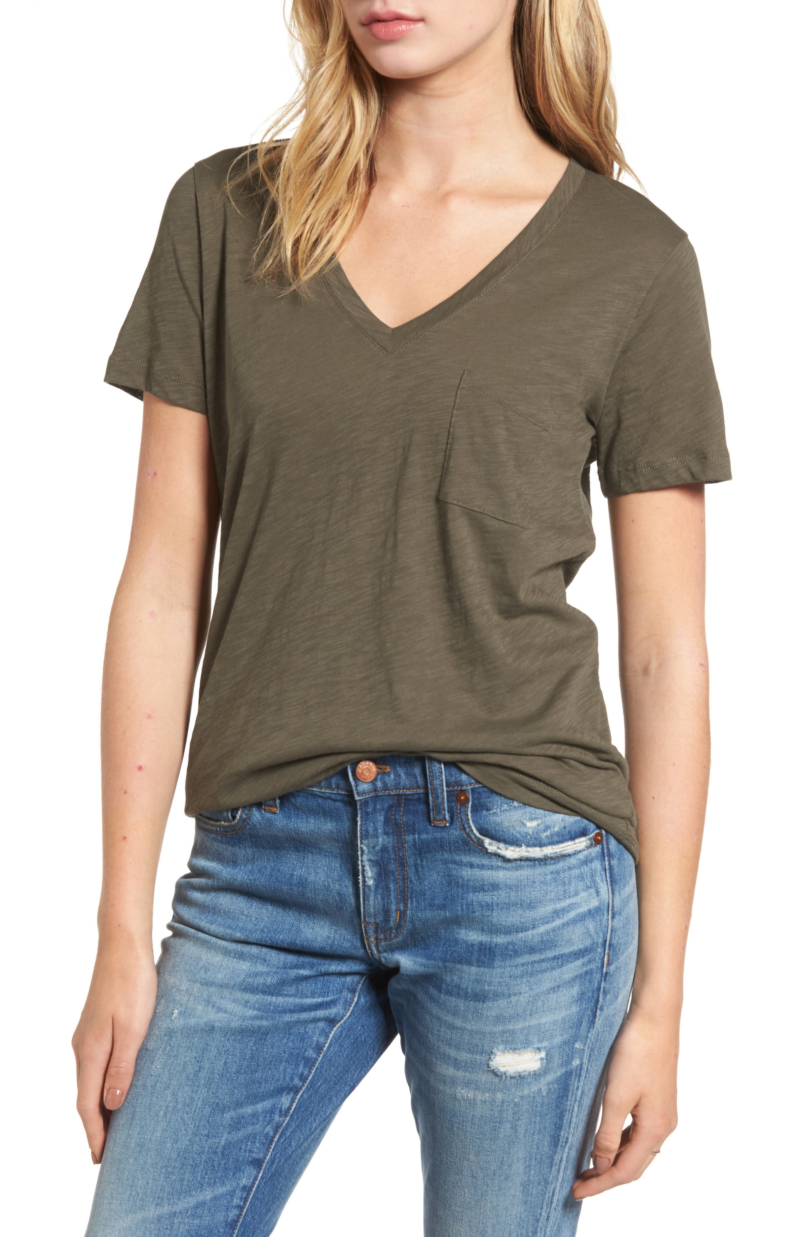 Whisper Cotton V-Neck Pocket Tee,                             Main thumbnail 2, color,