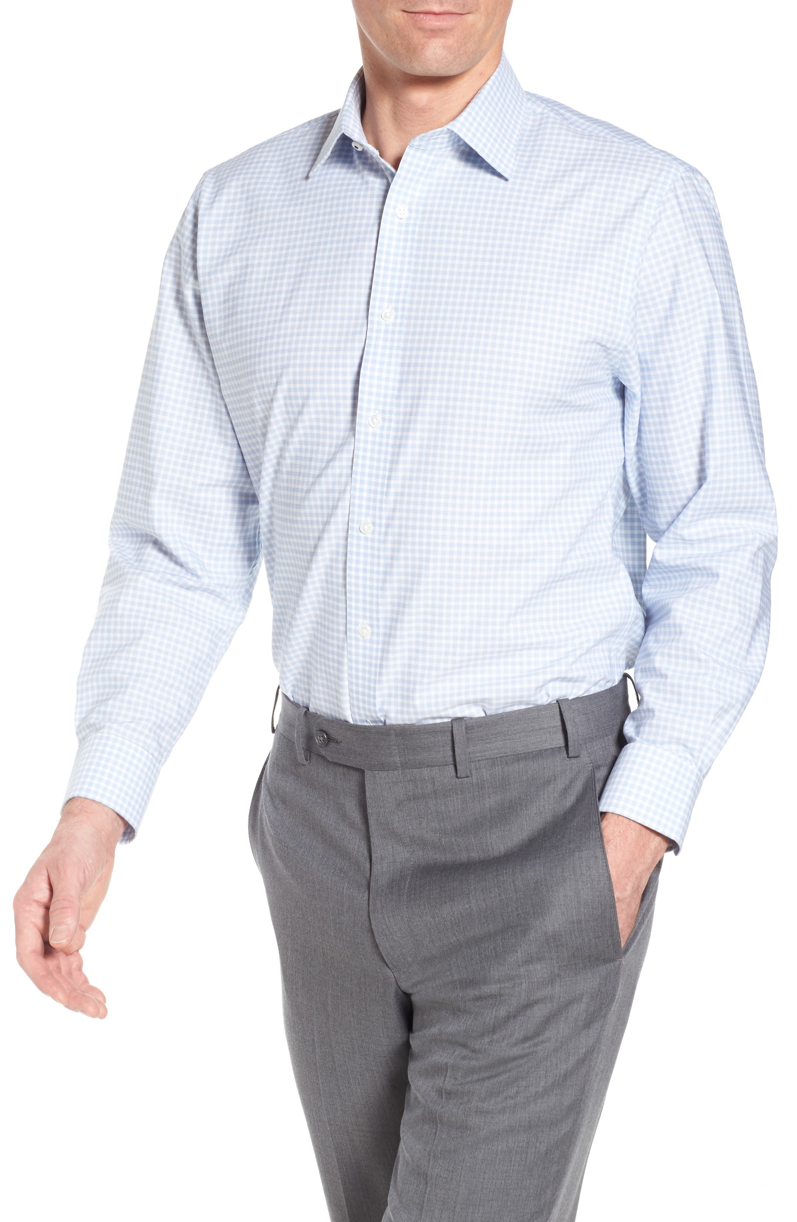 Tech-Smart Traditional Fit Stretch Check Dress Shirt,                         Main,                         color,