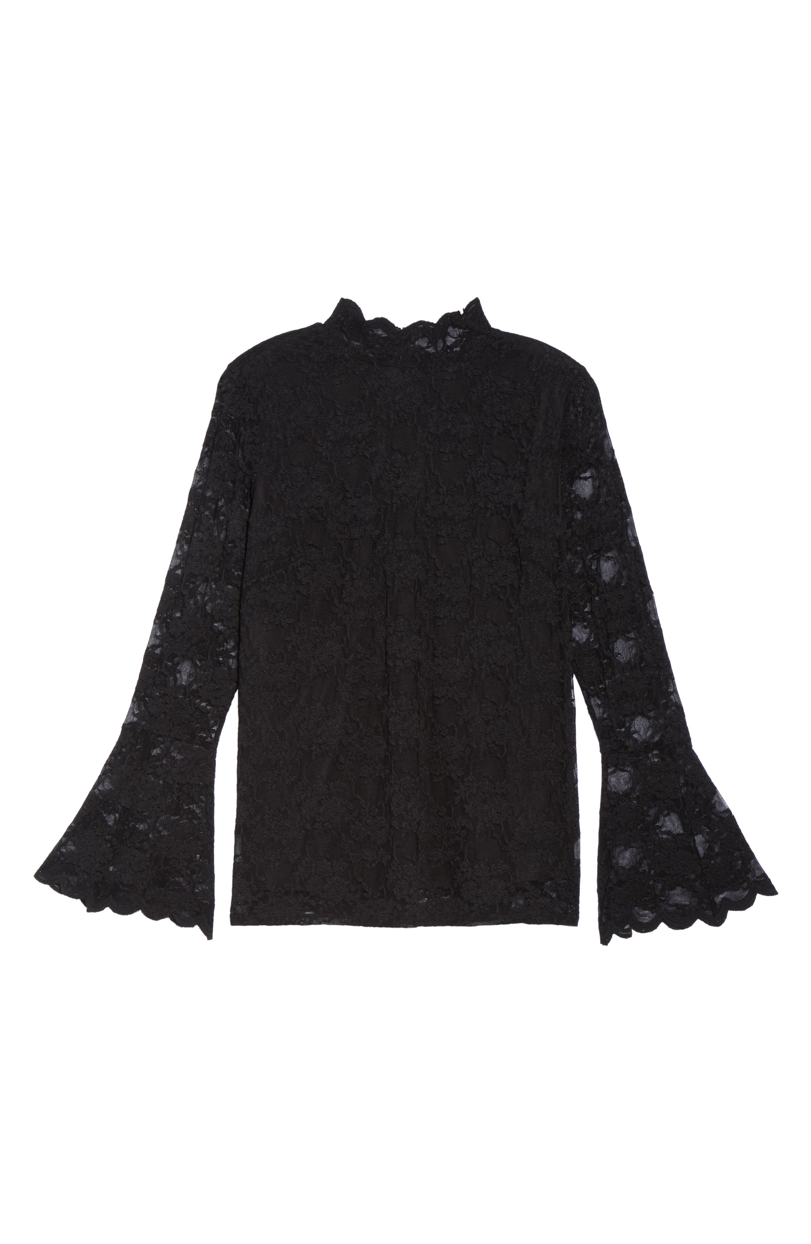 Bell Sleeve Lace Top,                             Alternate thumbnail 6, color,                             010