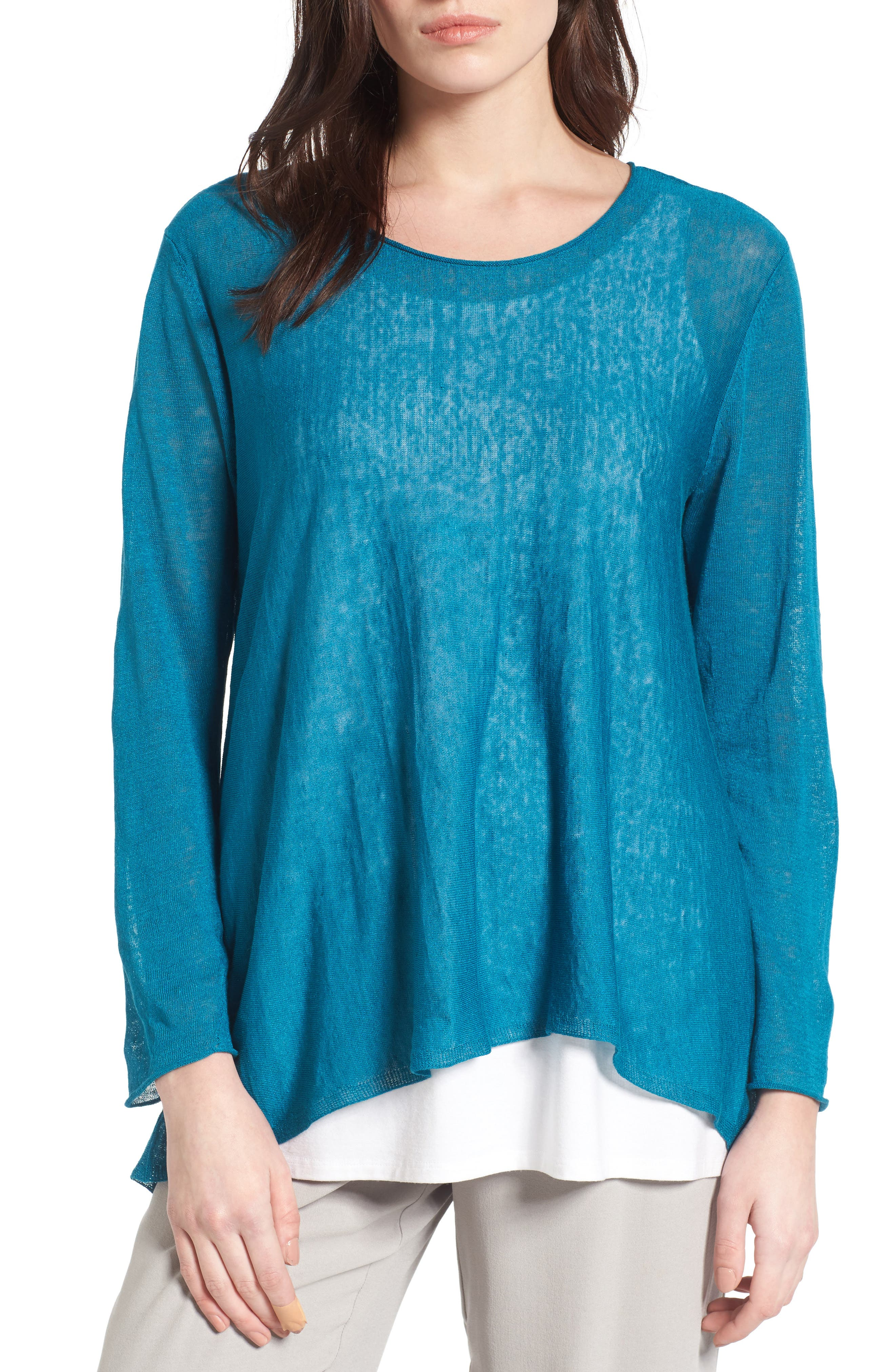 Organic Linen Blend Swing Sweater,                             Main thumbnail 7, color,