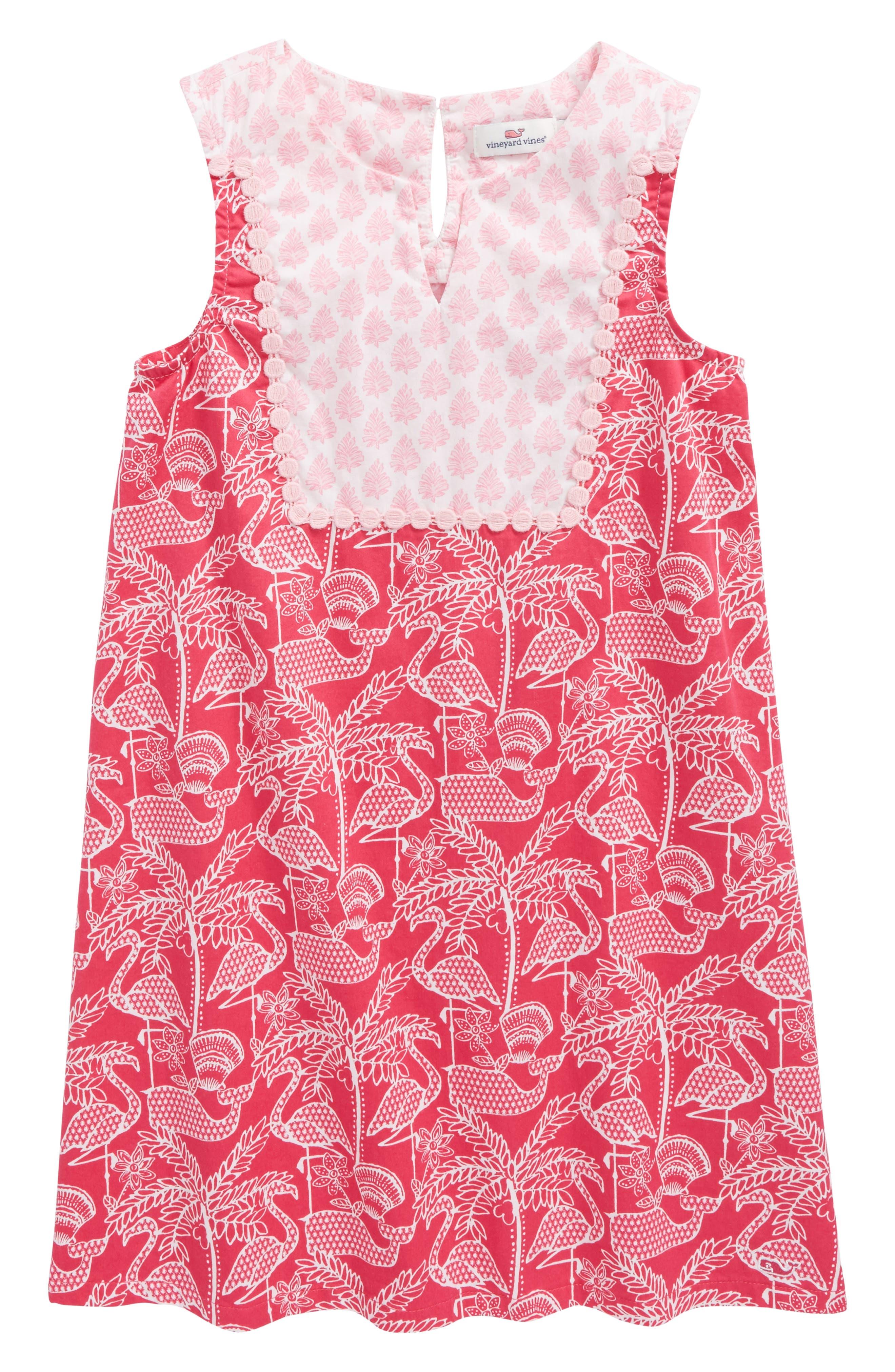 Flamingo Print Shift Dress,                             Main thumbnail 1, color,                             658