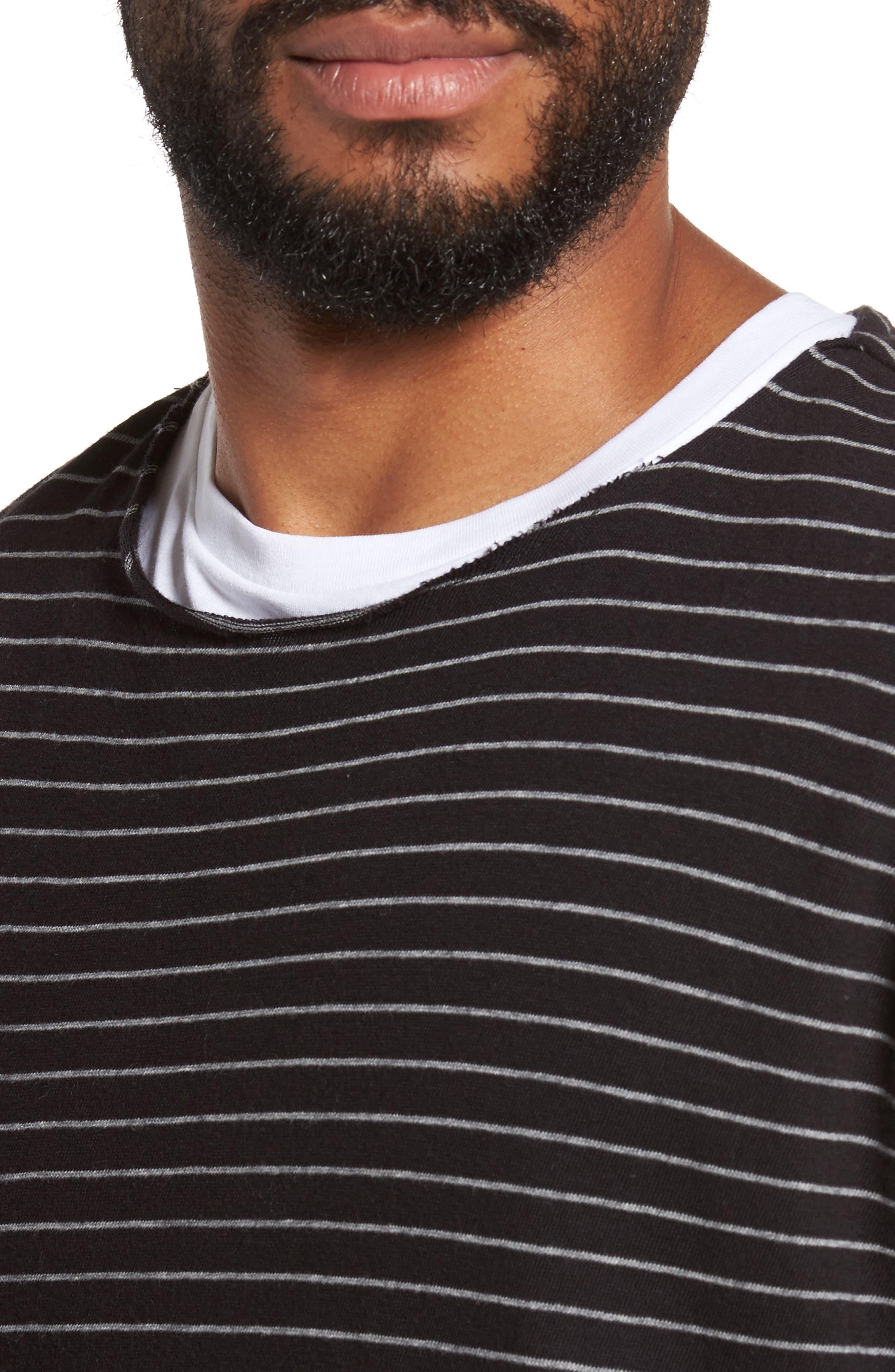 Raw Edge Stripe T-Shirt,                             Alternate thumbnail 4, color,                             002