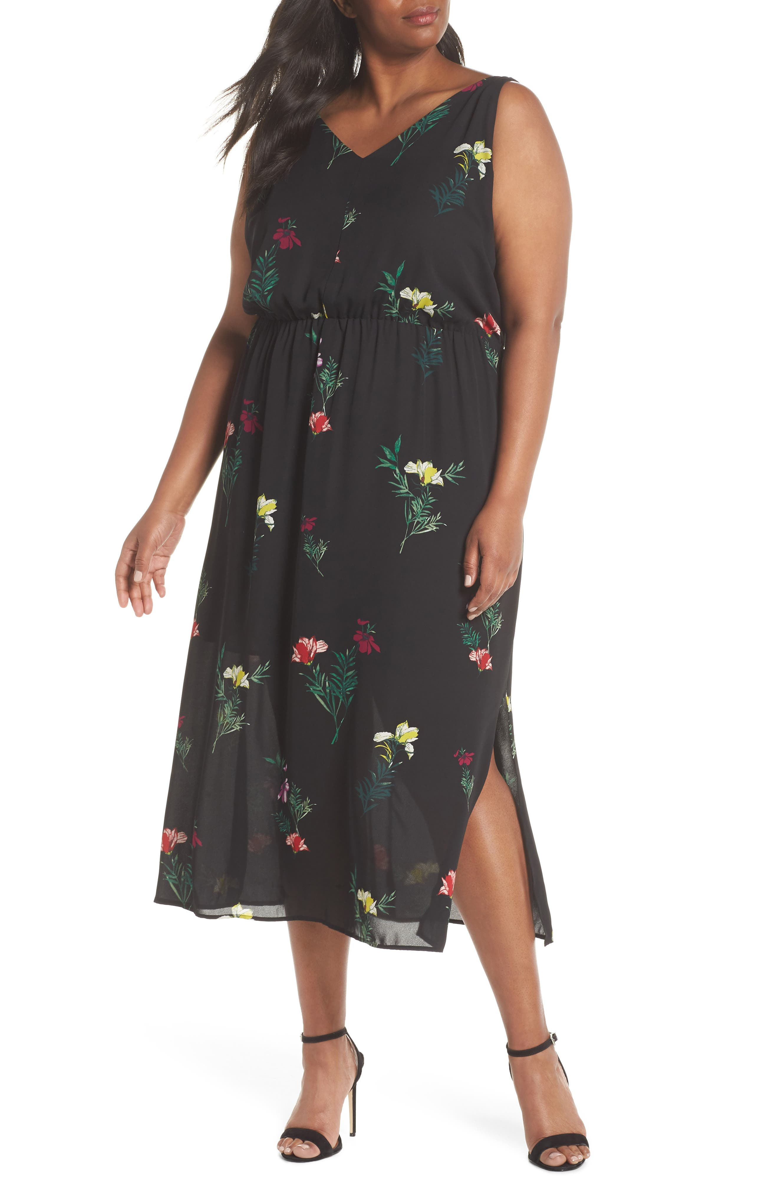 Tropical Garden Midi Dress,                             Main thumbnail 1, color,                             006