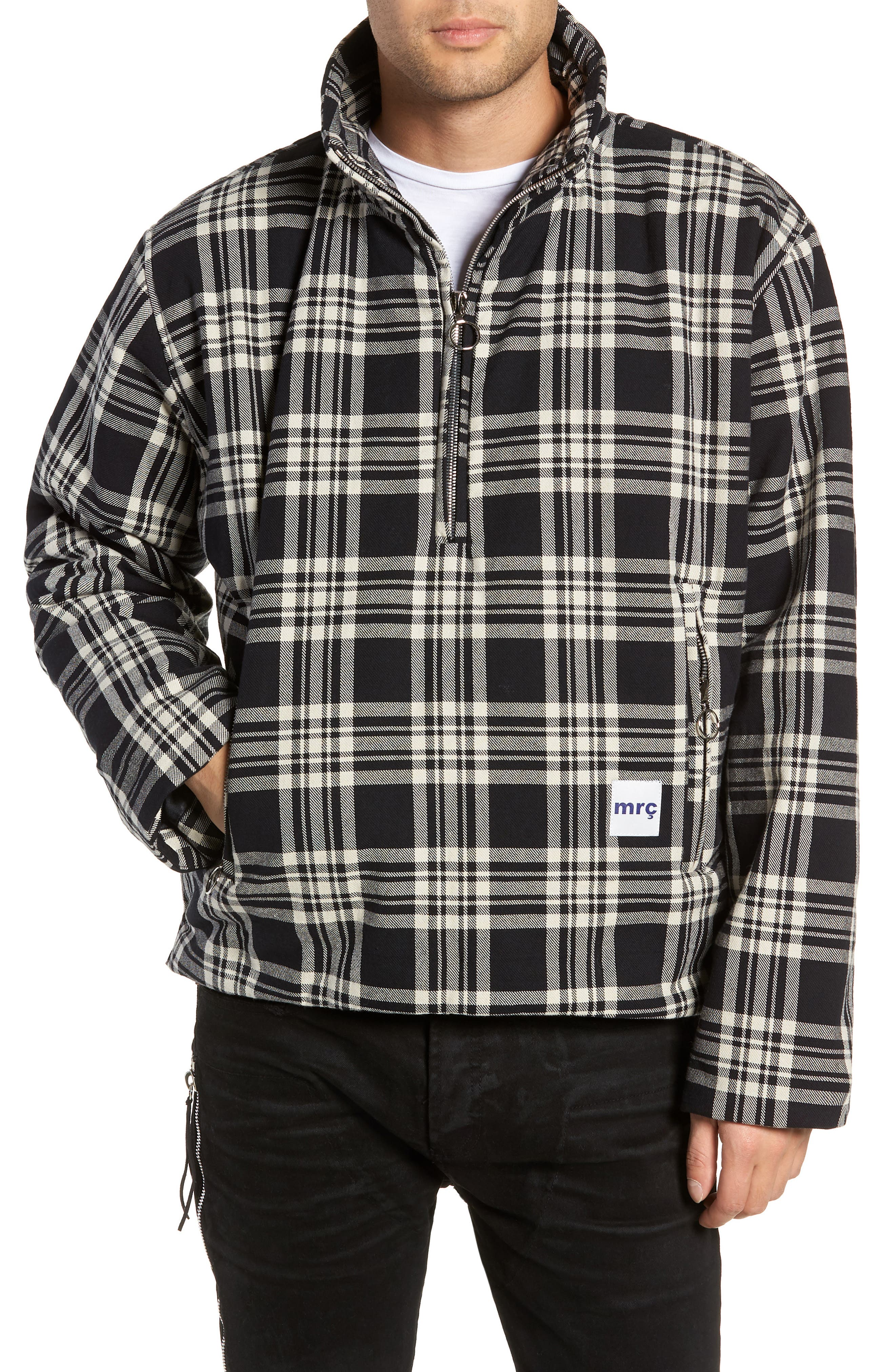 Puffy Classic Fit Half Zip Pullover,                             Main thumbnail 1, color,                             BLACK / WHITE