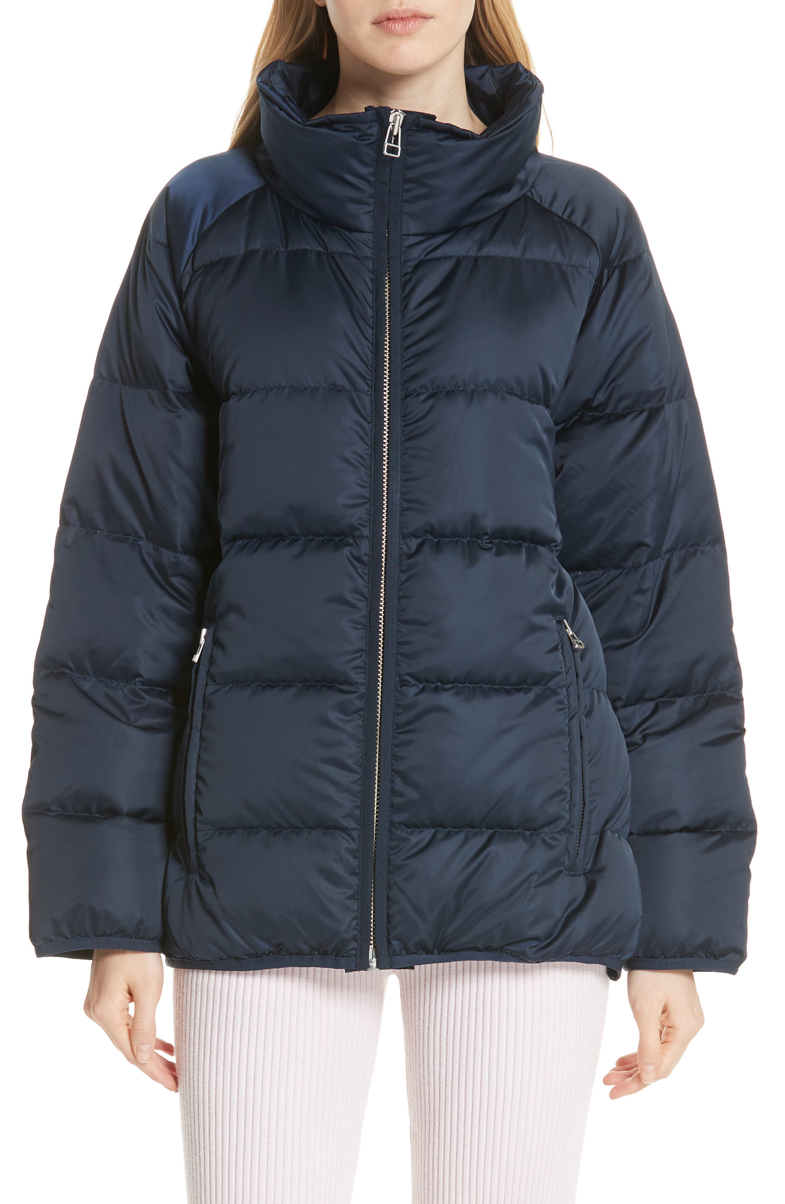 Satin Down Full-Zip Puffer Jacket in Tory Navy