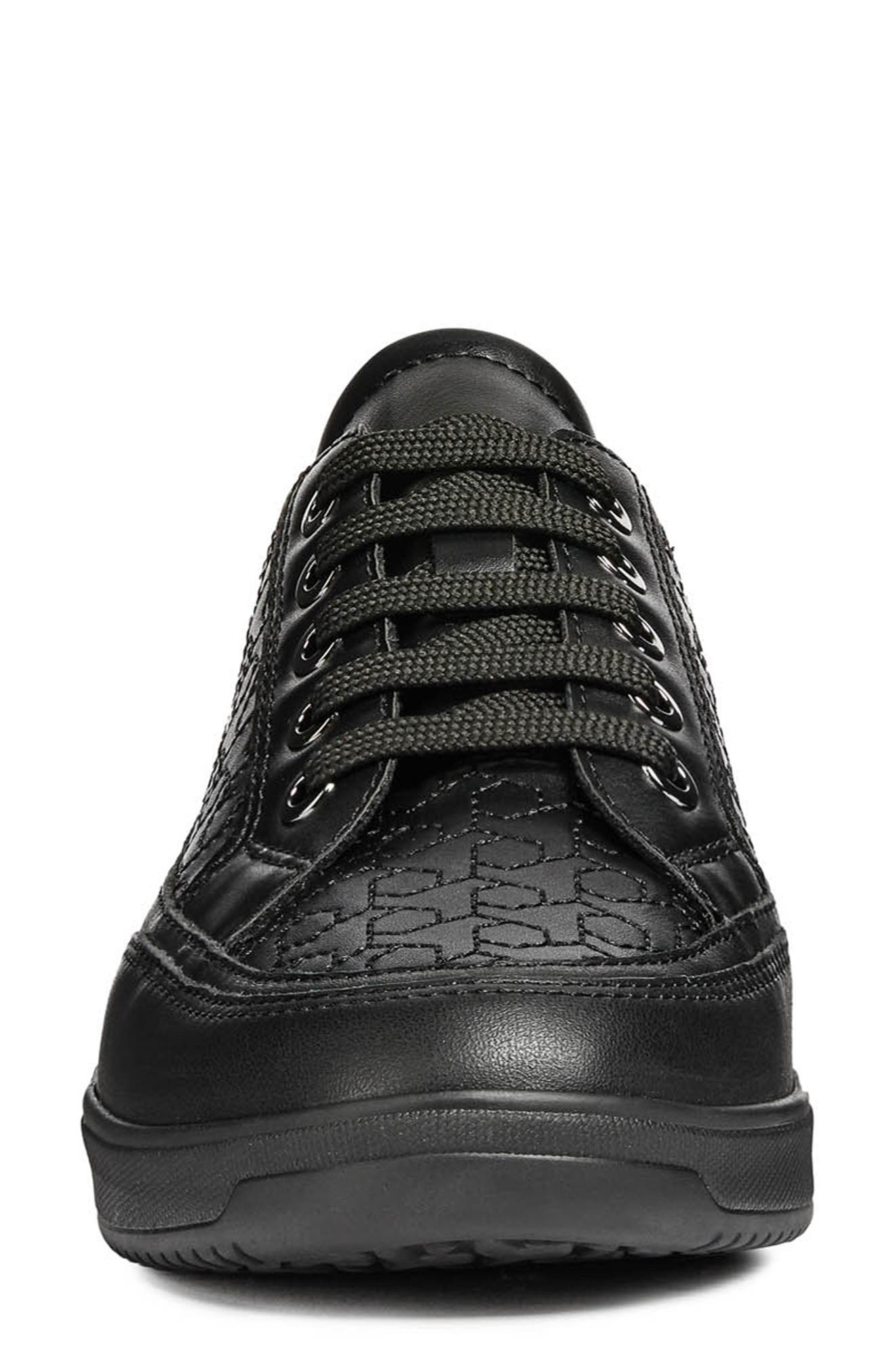 Tahina Sneaker,                             Alternate thumbnail 4, color,                             BLACK FAUX LEATHER
