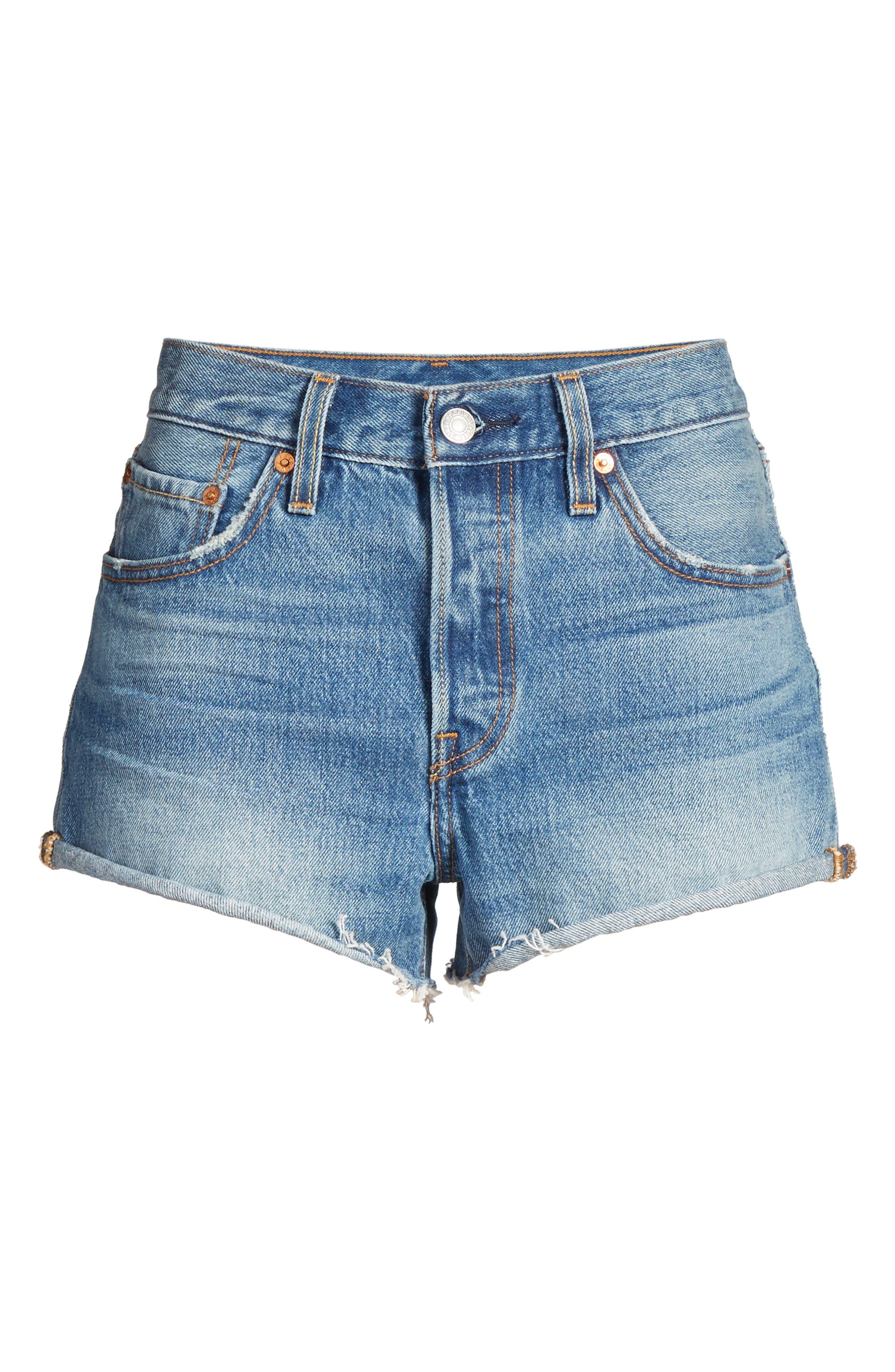 Cutoff Denim Shorts,                             Alternate thumbnail 6, color,                             400